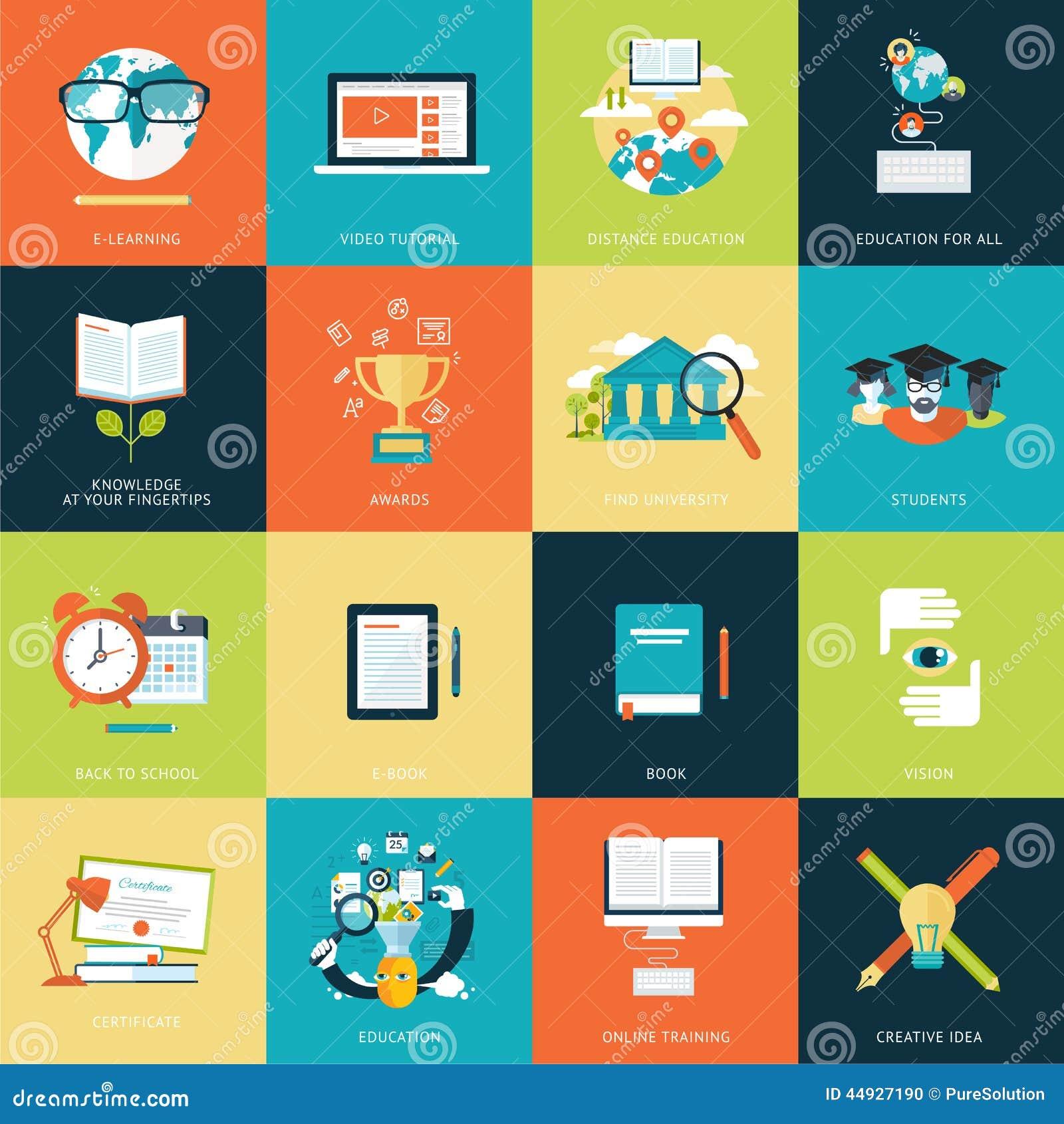 Sistema de los iconos planos modernos del concepto de diseño para la educación en línea