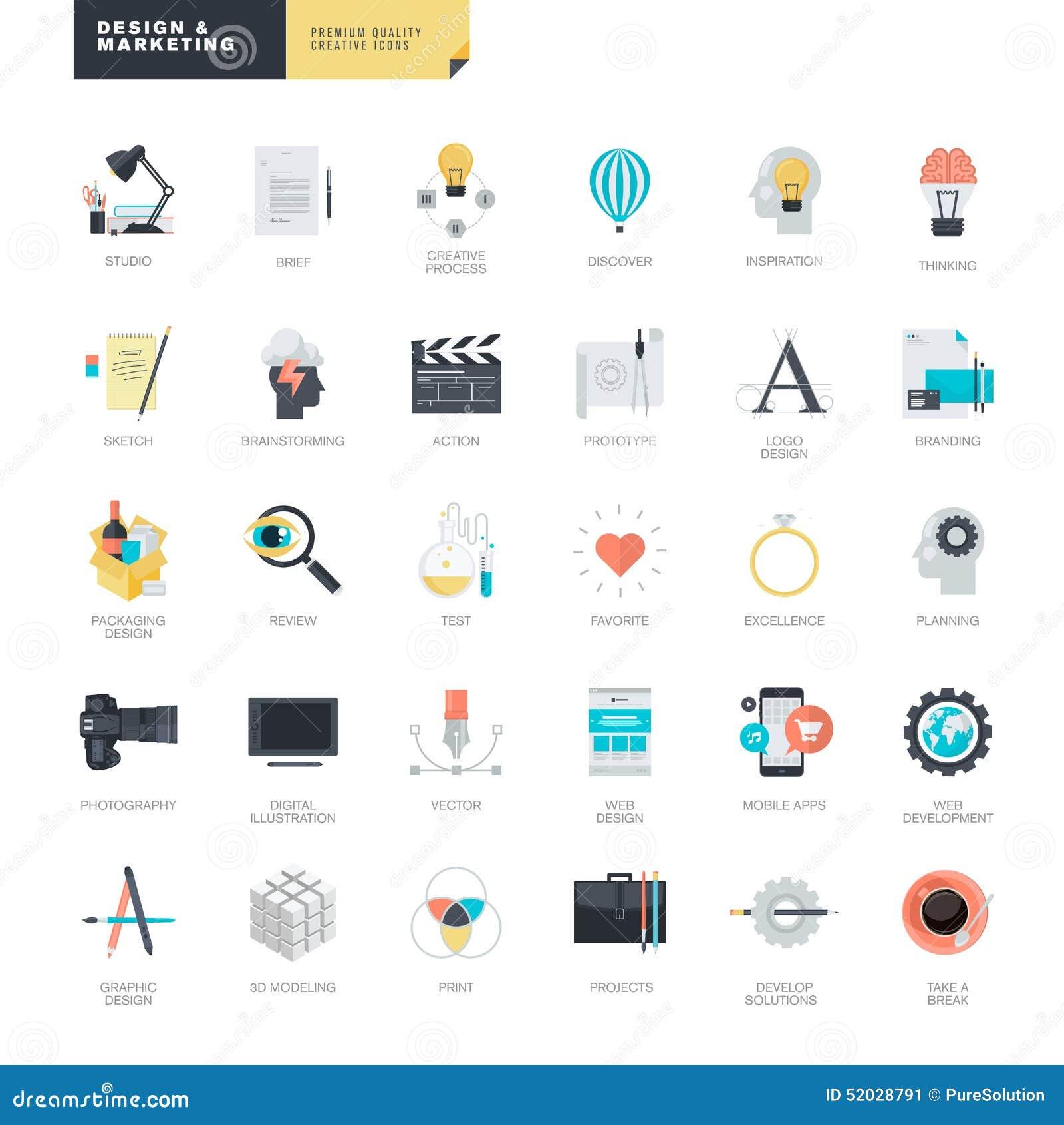 Sistema de los iconos planos modernos del diseño para el gráfico y los diseñadores web