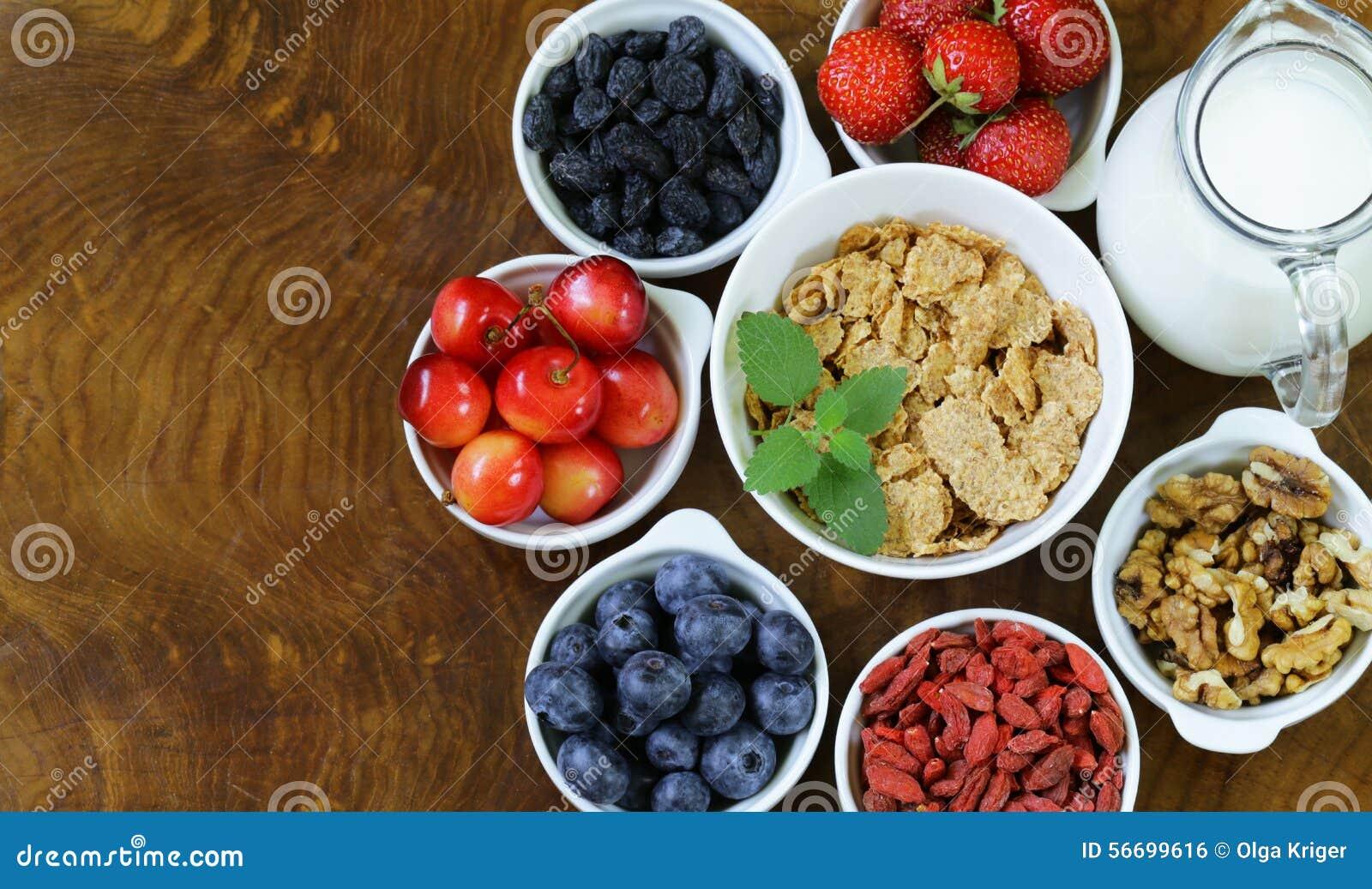 Sistema de los ingredientes para un desayuno sano de la for Ingredientes para comida