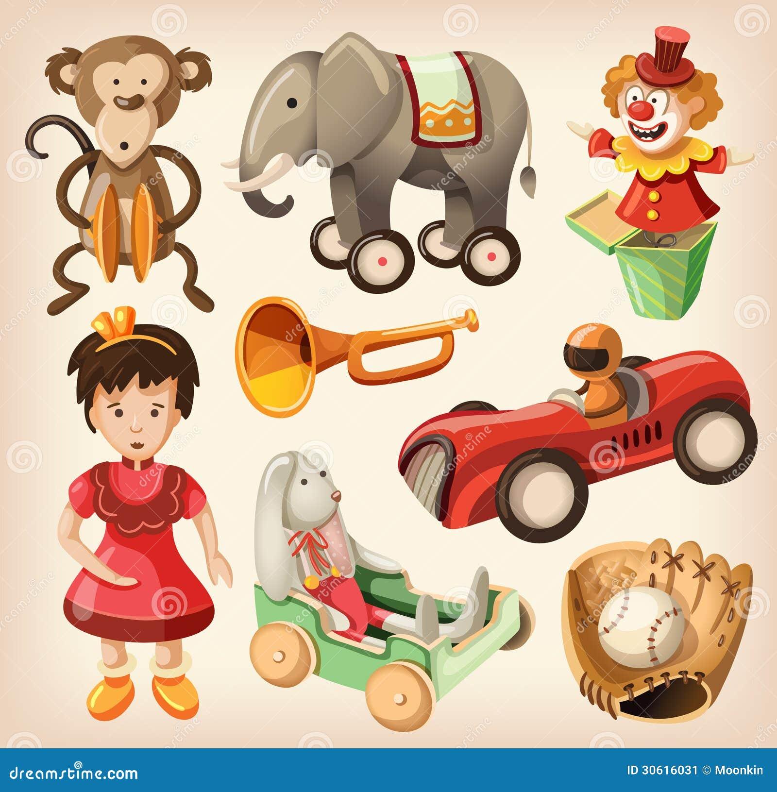 Sistema de los juguetes coloridos del vintage para los niños.