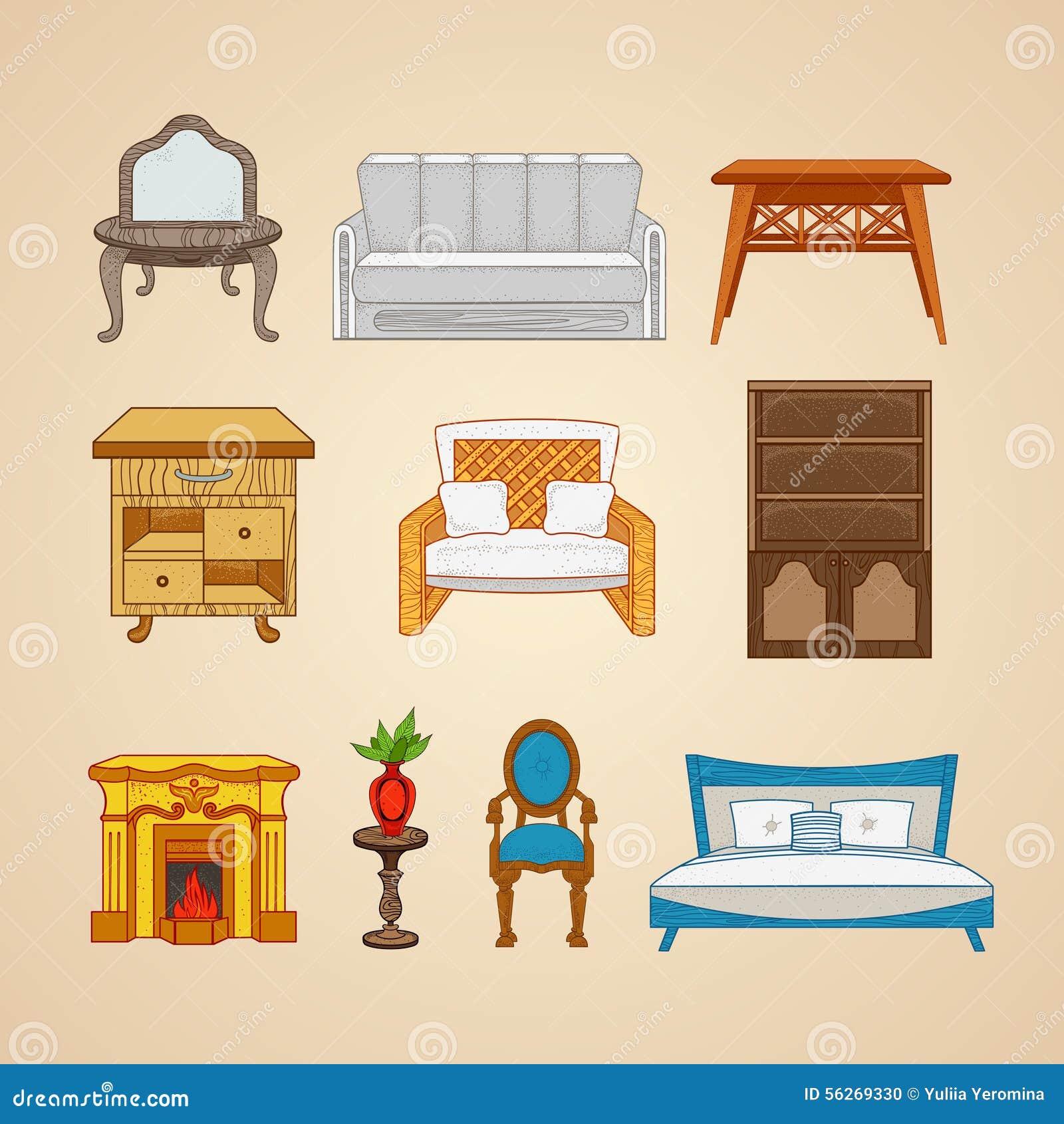 Sistema De Los Muebles De Diez Ejemplos Para El Hogar Ilustraci N  # Los Muebles Powerpoint