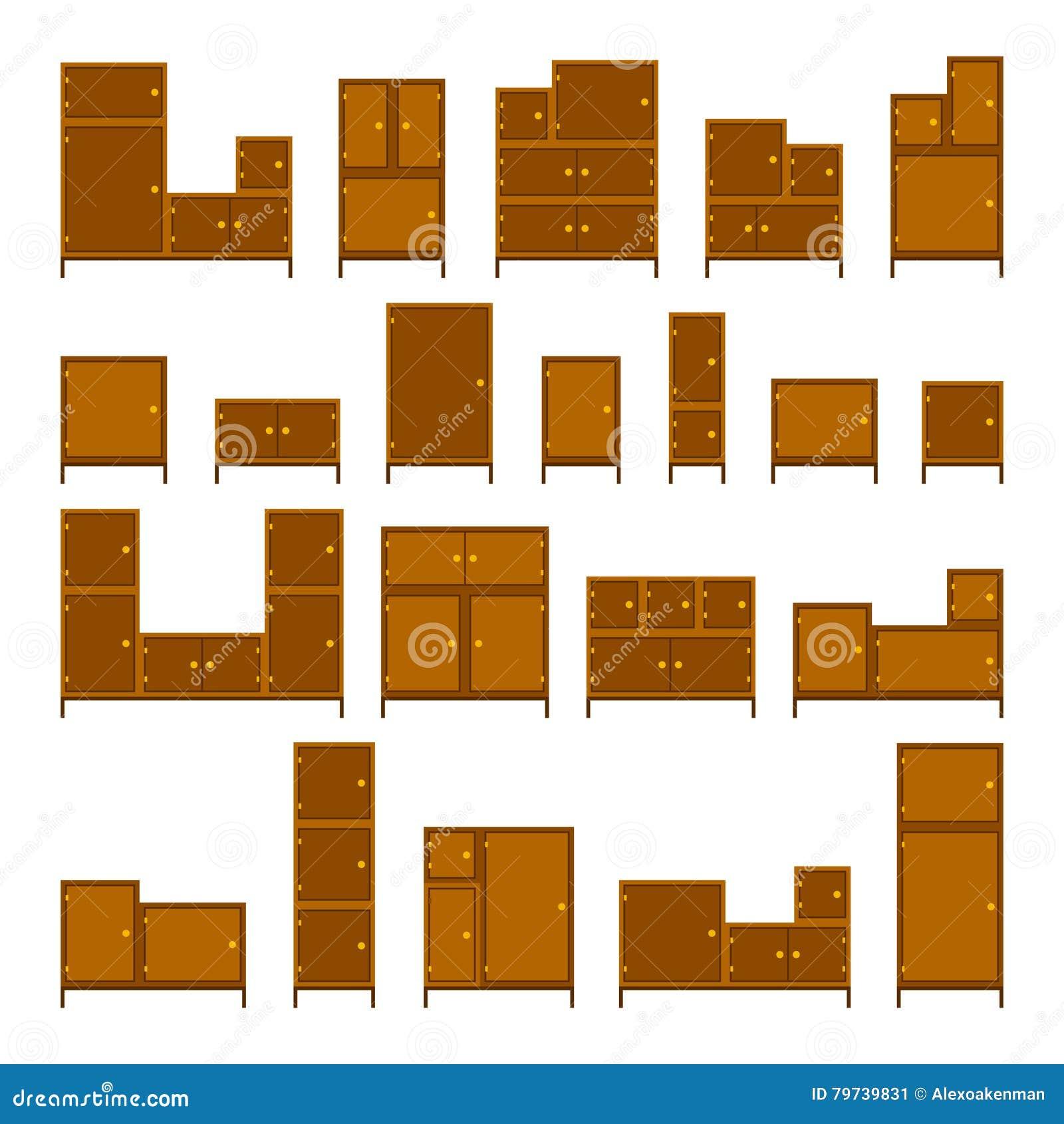 Sistema de los muebles de oficinas del vector en estilo plano aislado en blanco