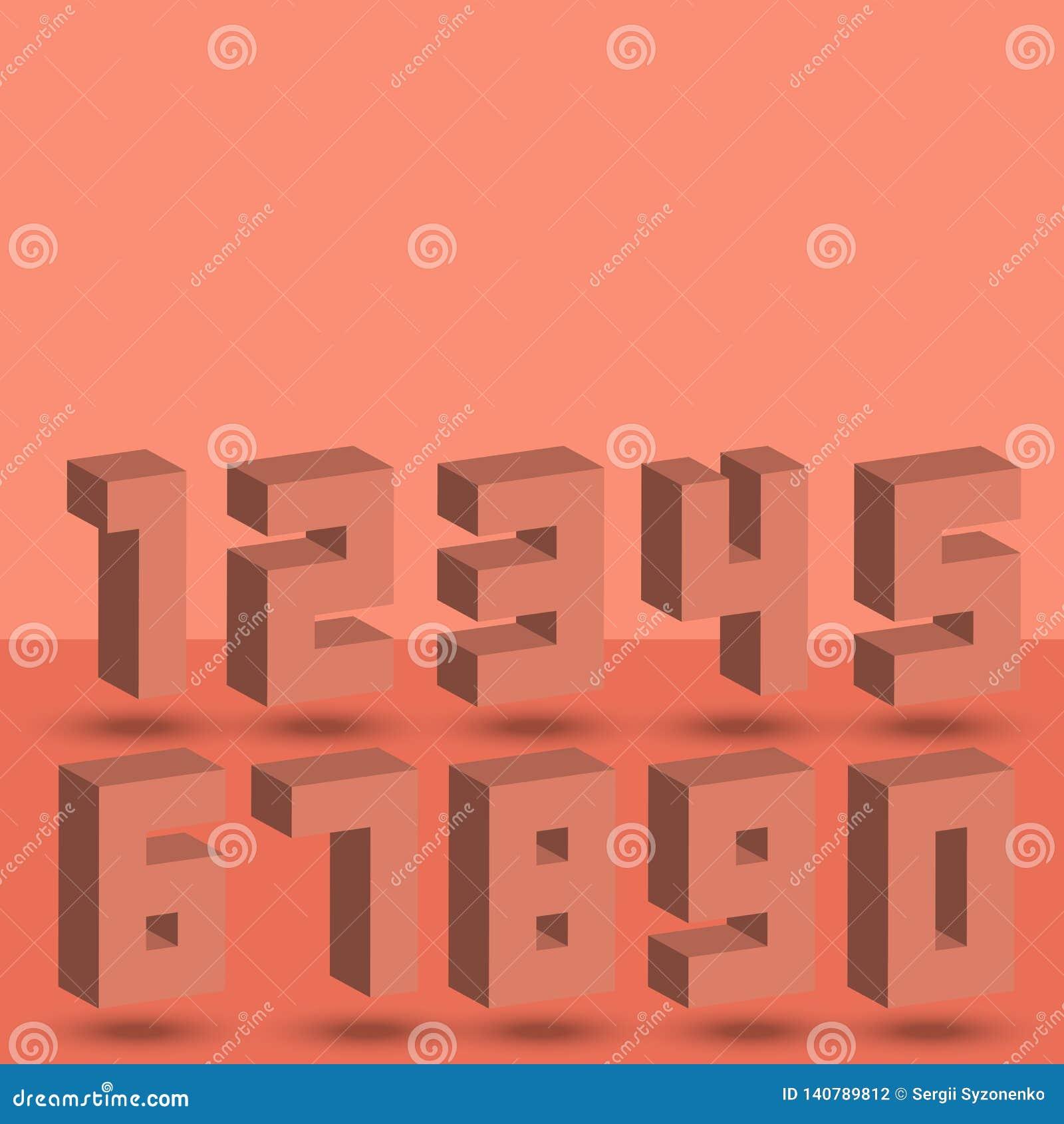 Sistema de los números de las muestras isométricas de semitono coralinas de los números de la fuente del estilo 3D con las sombra