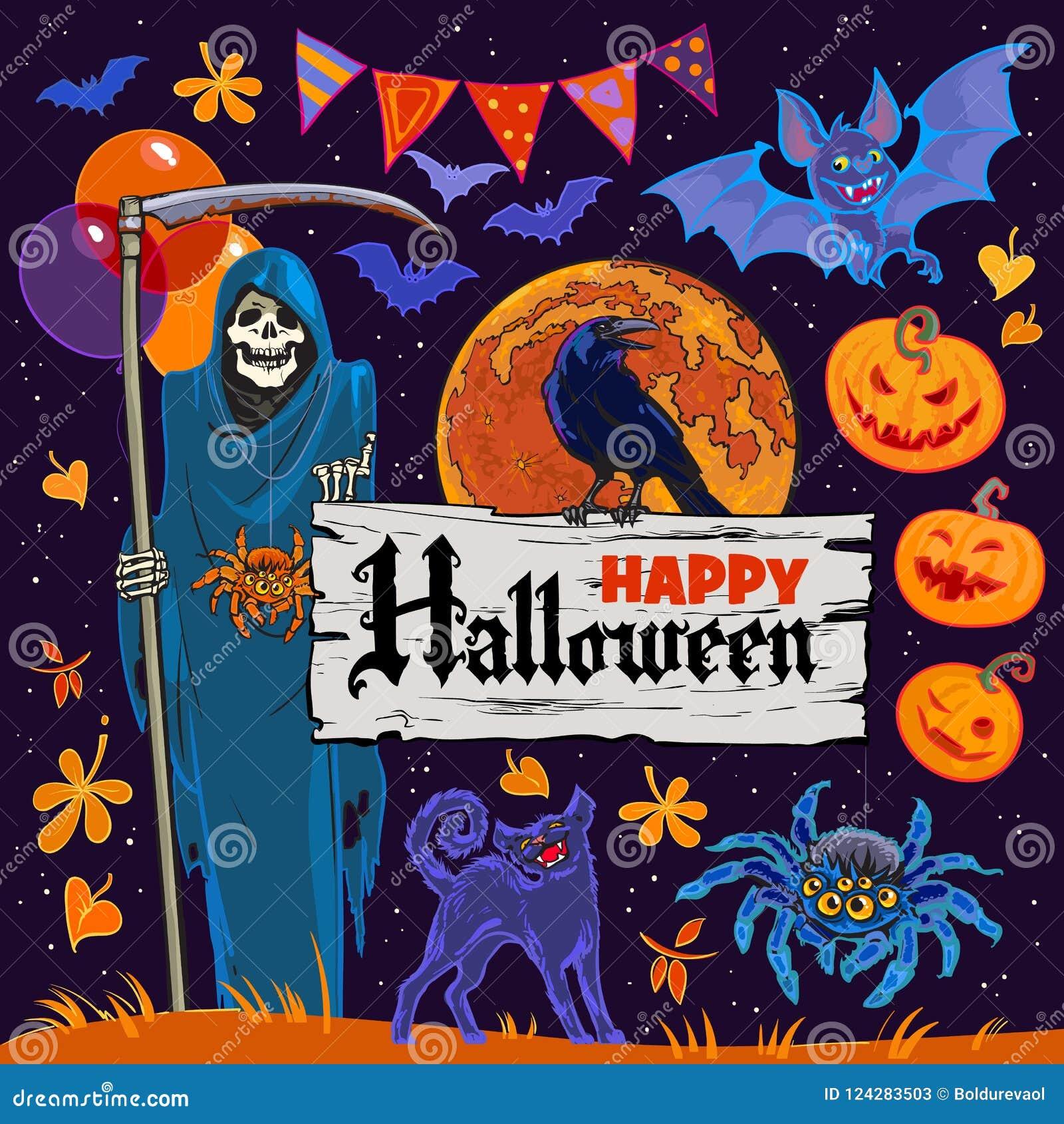Sistema de los personajes de dibujos animados y de los objetos de Halloween en fondo del cielo nocturno Vector
