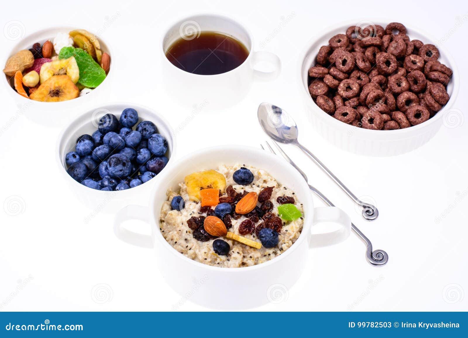 Sistema de los platos para el desayuno fácil, sano