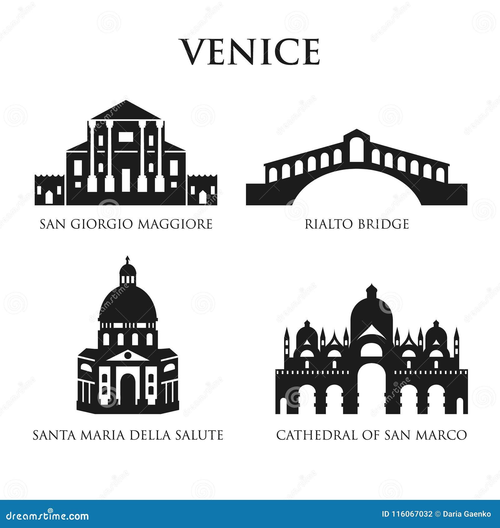 Sistema De Los Símbolos De Italia Señales En Blanco Y Negro