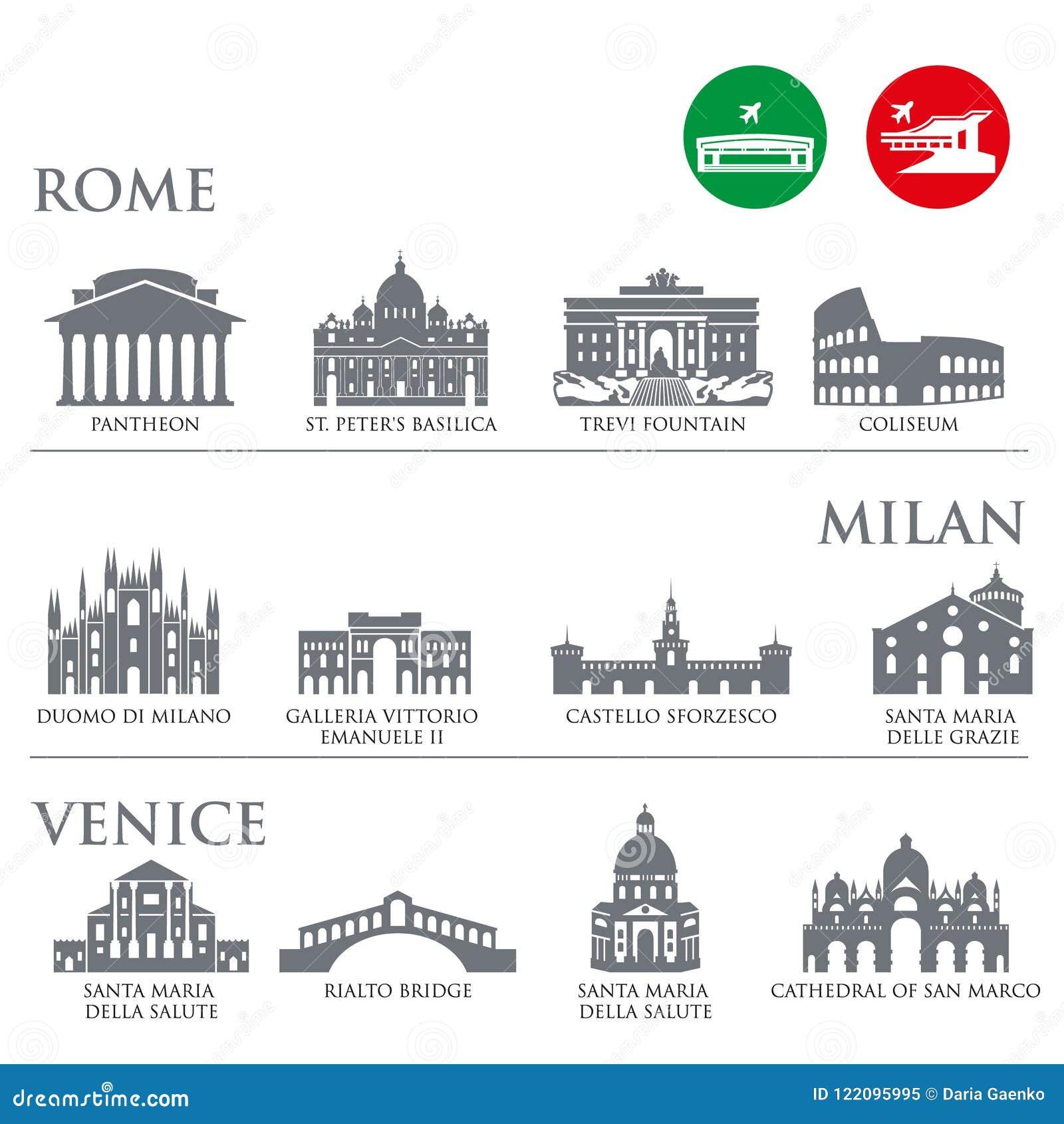 Sistema de los símbolos de Italia, señales en color gris Ilustración del vector Venecia, Milán, Italia, Roma