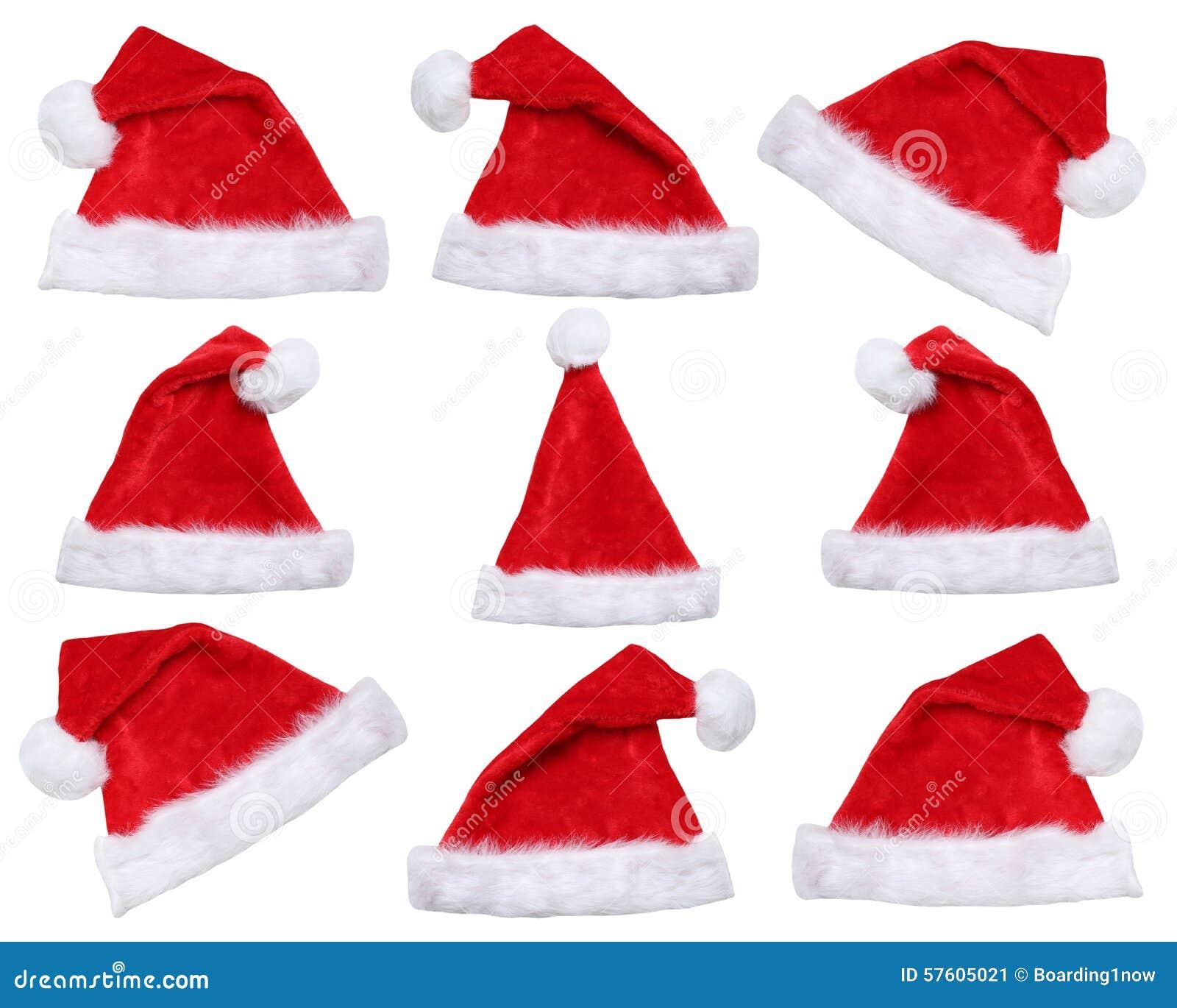 Sistema de los sombreros de Santa Claus en la Navidad en invierno aislados