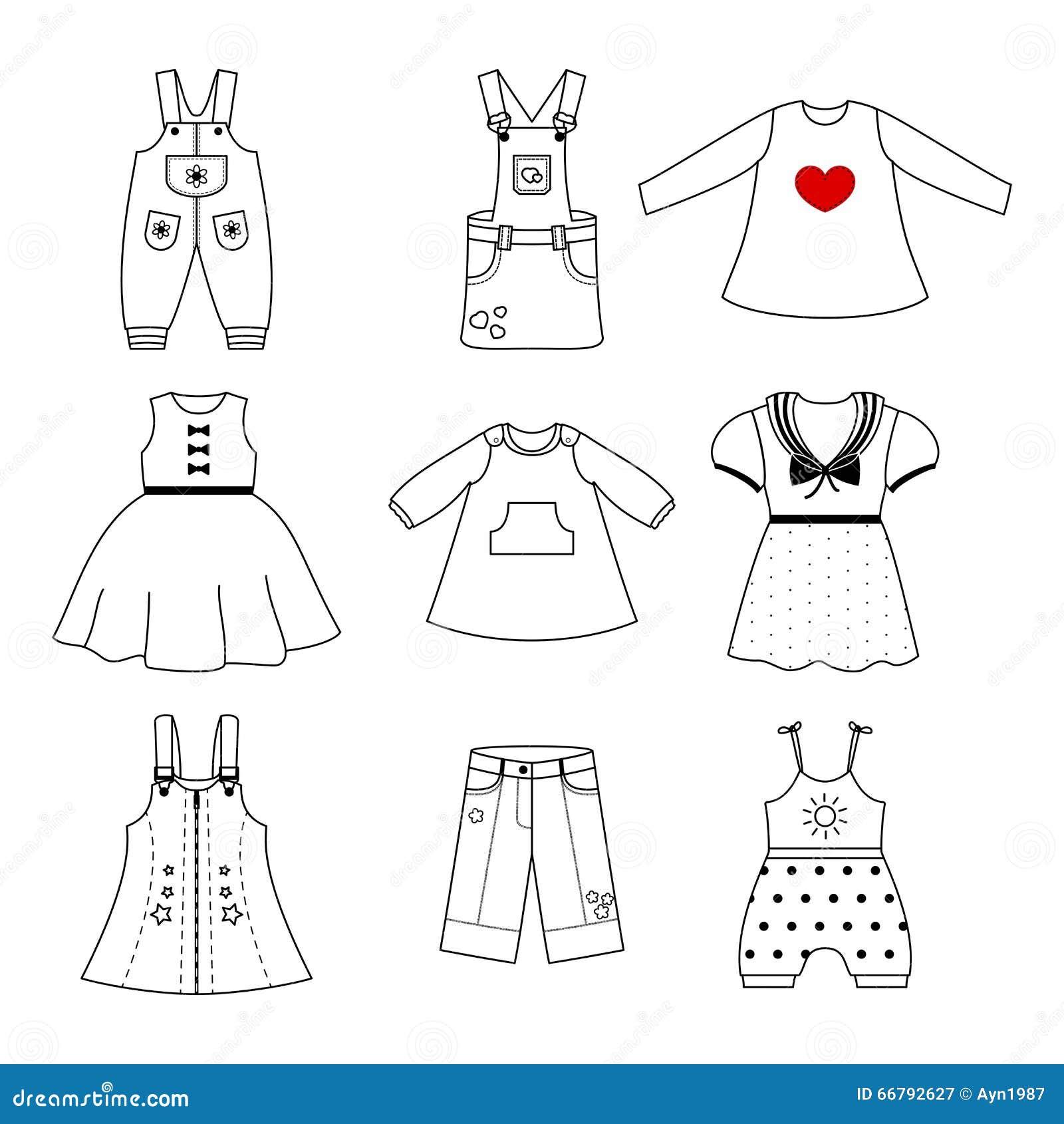 3b8e5e8f4 Sistema De Los Vestidos Lindos Para La Niña Colección De Ropa En Un ...