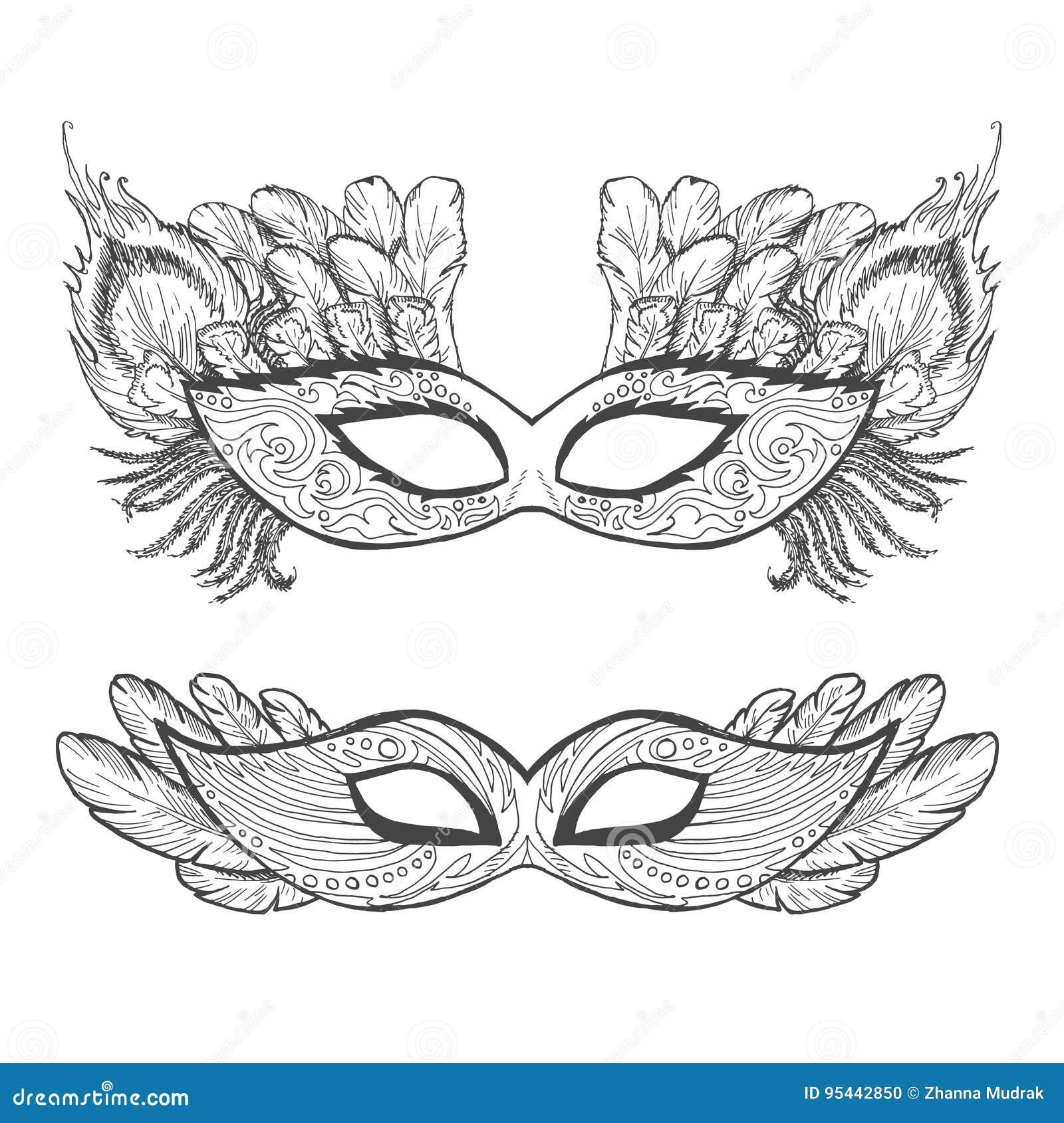 Sistema De Máscaras Del Esquema De La Mascarada, Contorno Para ...