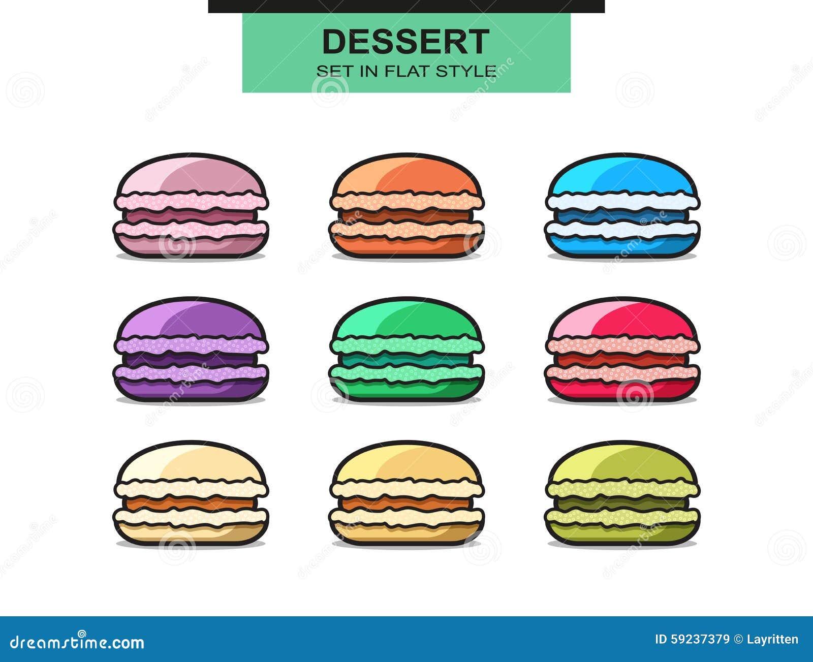 Download Sistema De 9 Macarrones Franceses Coloridos Postre Dulce Ilustración del Vector - Ilustración de coma, multicolor: 59237379