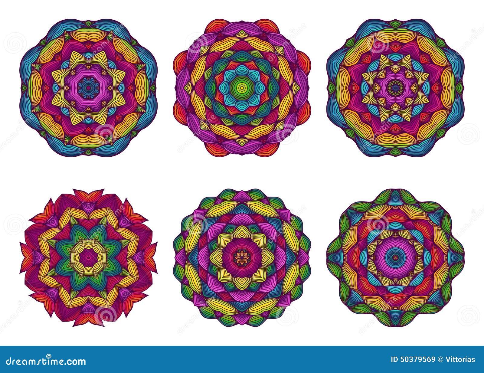 Sistema De Mandalas Flores Dibujadas Mano Hermosa