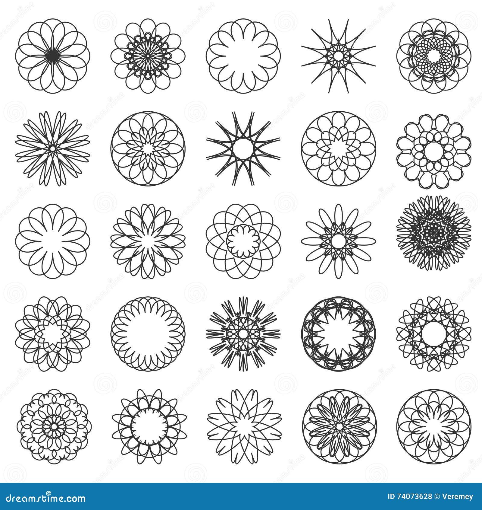 Sistema De Mandalas Simples Ilustracion Del Vector Ilustracion