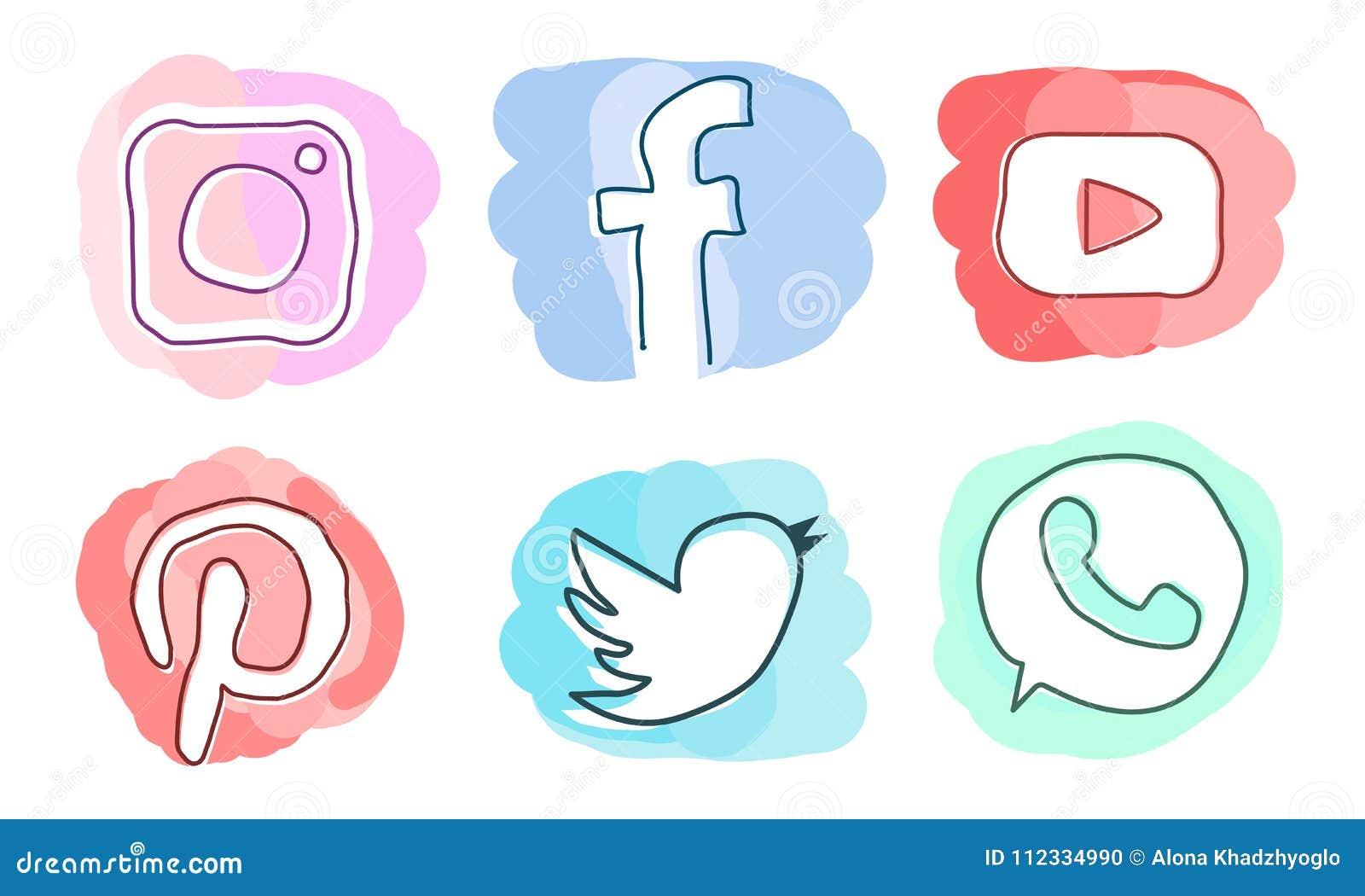 Sistema De Medios Iconos Sociales Instagram Facebook Pinterest