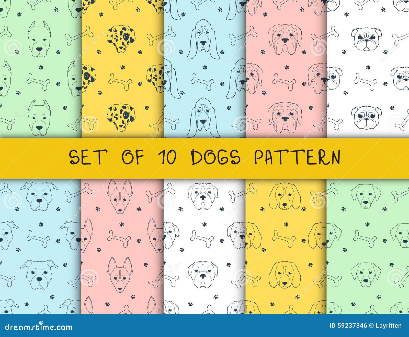 Download Sistema De 10 Modelos Inconsútiles Con Diversos Perros De Las Razas Ilustración del Vector - Ilustración de fondo, ilustración: 59237346