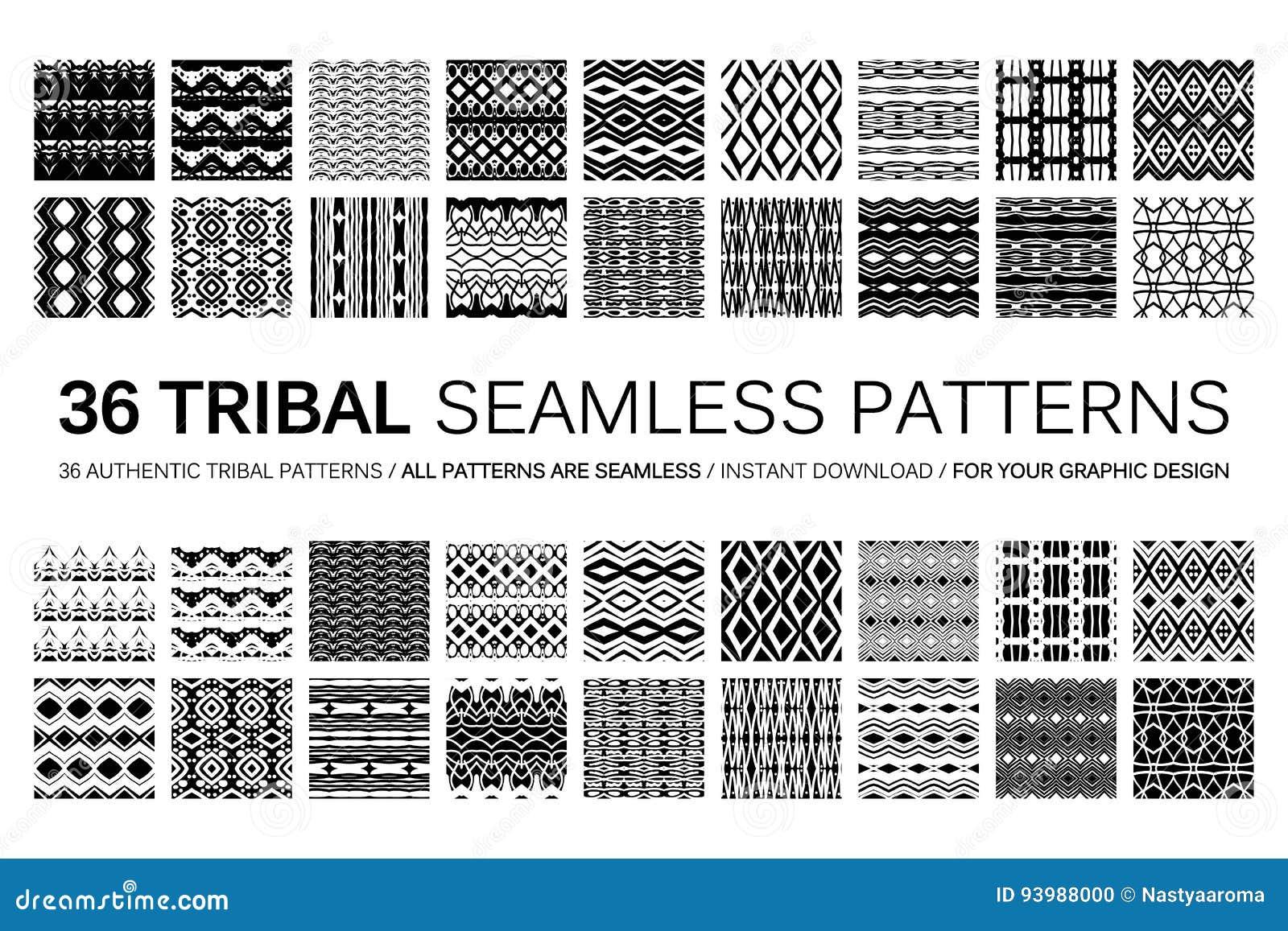 Sistema de 36 modelos inconsútiles tribales