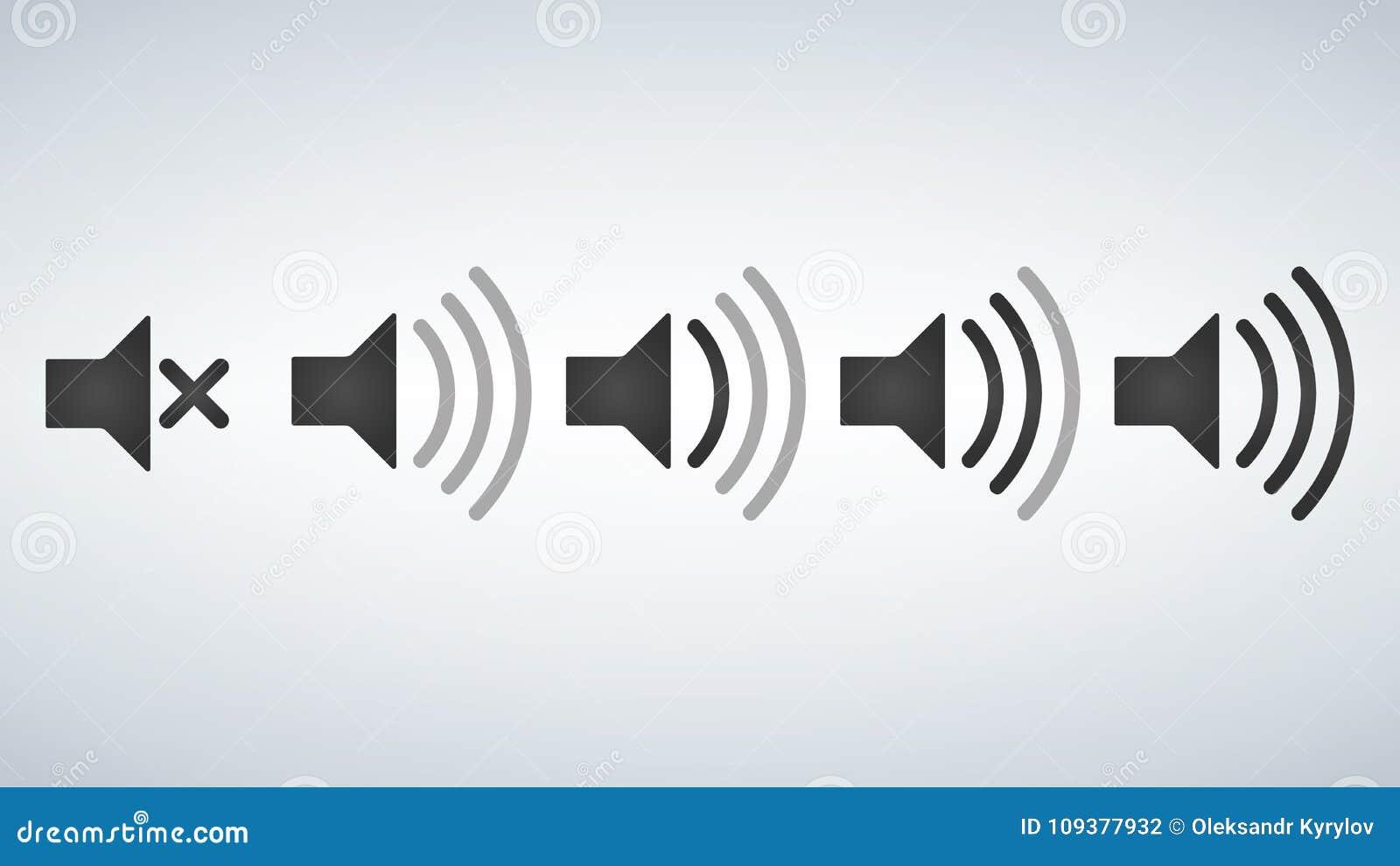 Sistema de niveles de volumen planos del estilo del diseño del vector de los iconos de los sonidos
