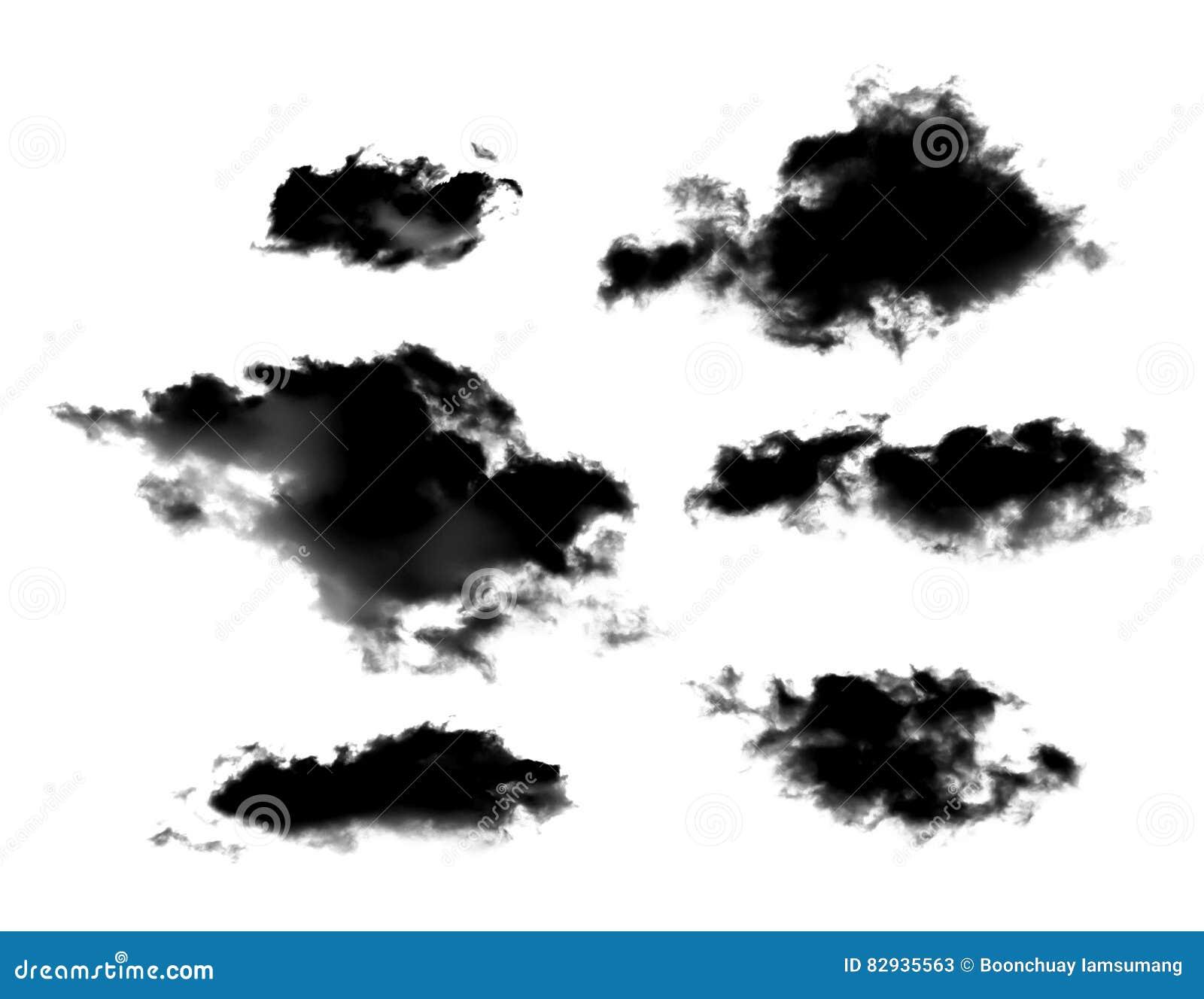 Sistema de nubes negras o de humo aislado en el fondo blanco