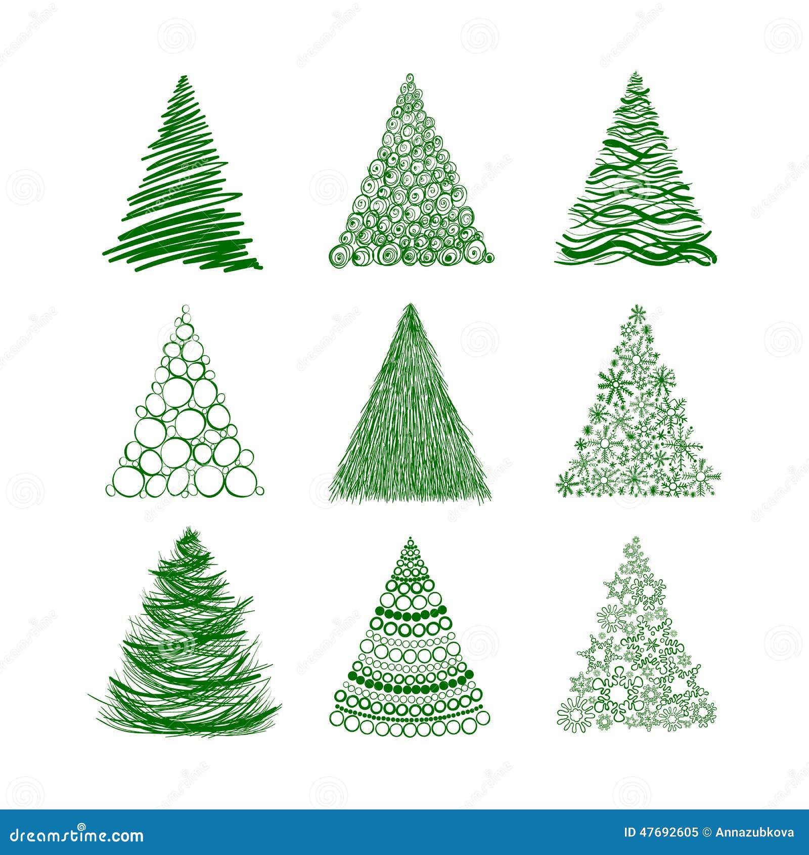 Sistema de nueve rboles de navidad aislados en el fondo - Arboles de navidad dorados ...