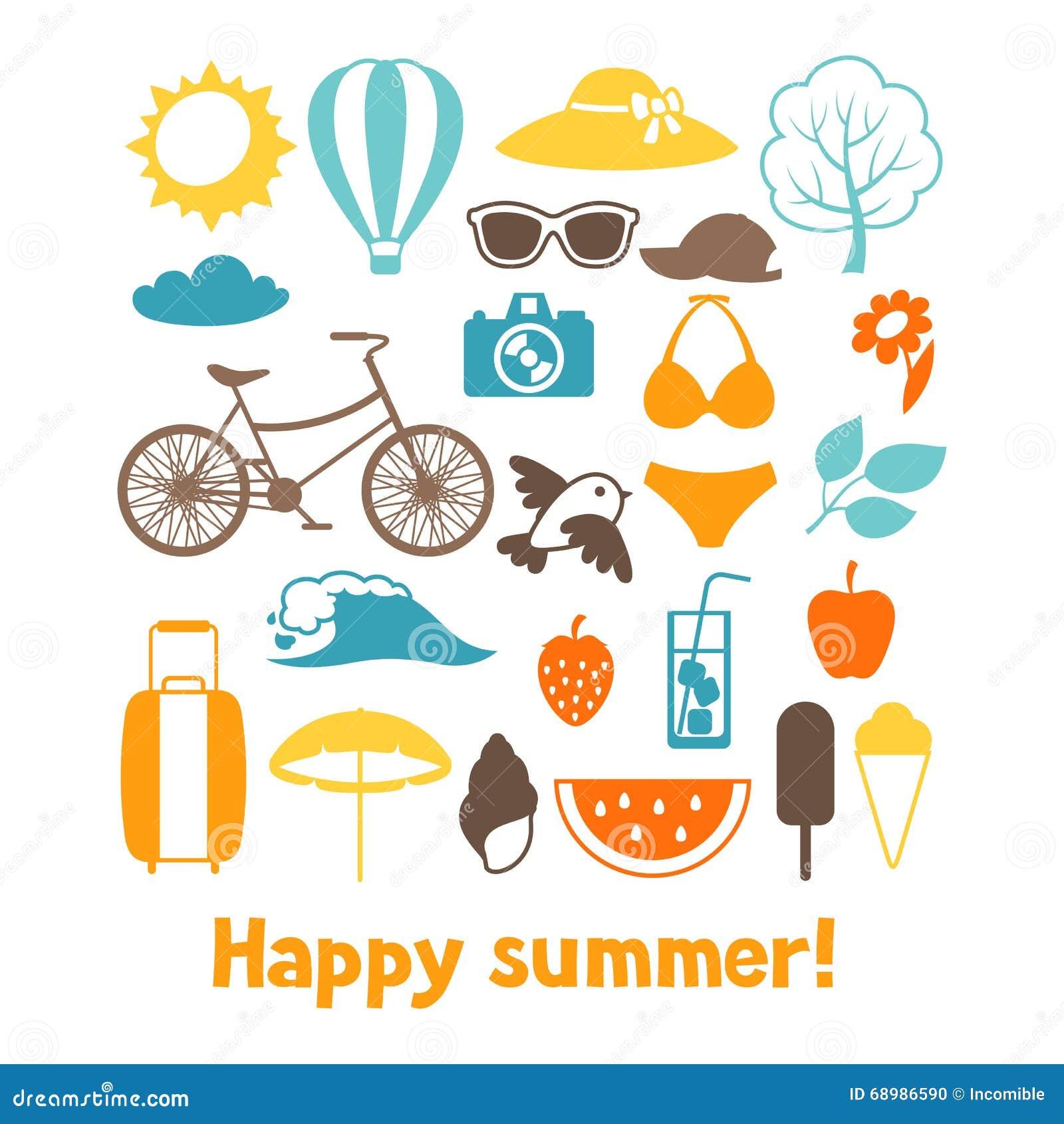 Sistema de objetos estilizados del verano