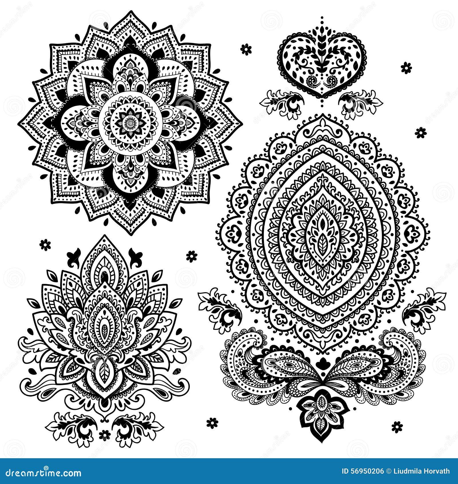 Sistema De Ornamentos Florales Indios Mandala Alhena Ilustracion Del - Mandalas-indios