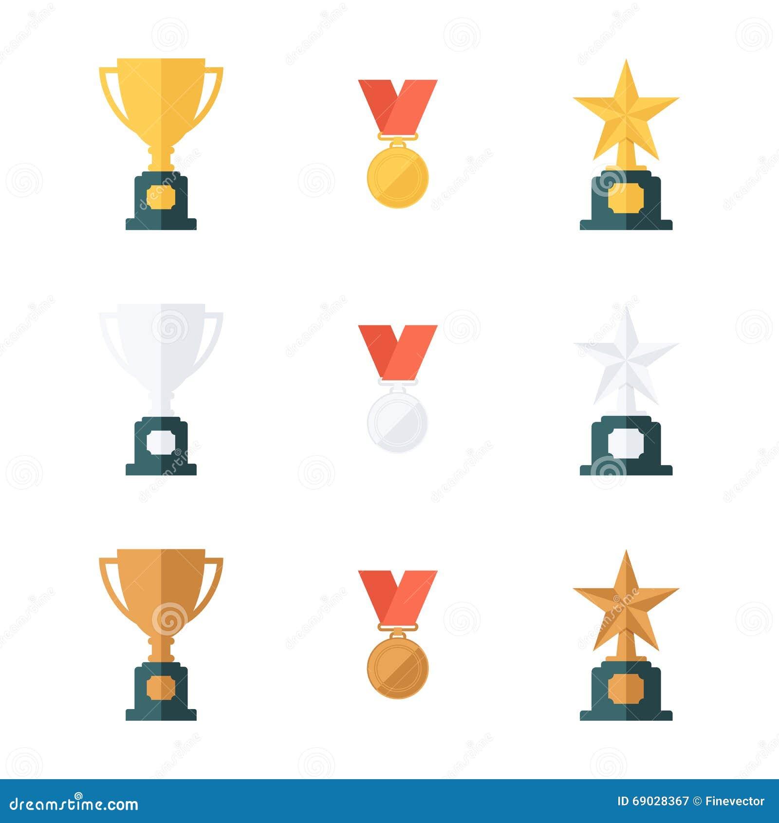 Sistema de oro, tazas del trofeo de la plata y del bronce, medallas y premios de la estrella