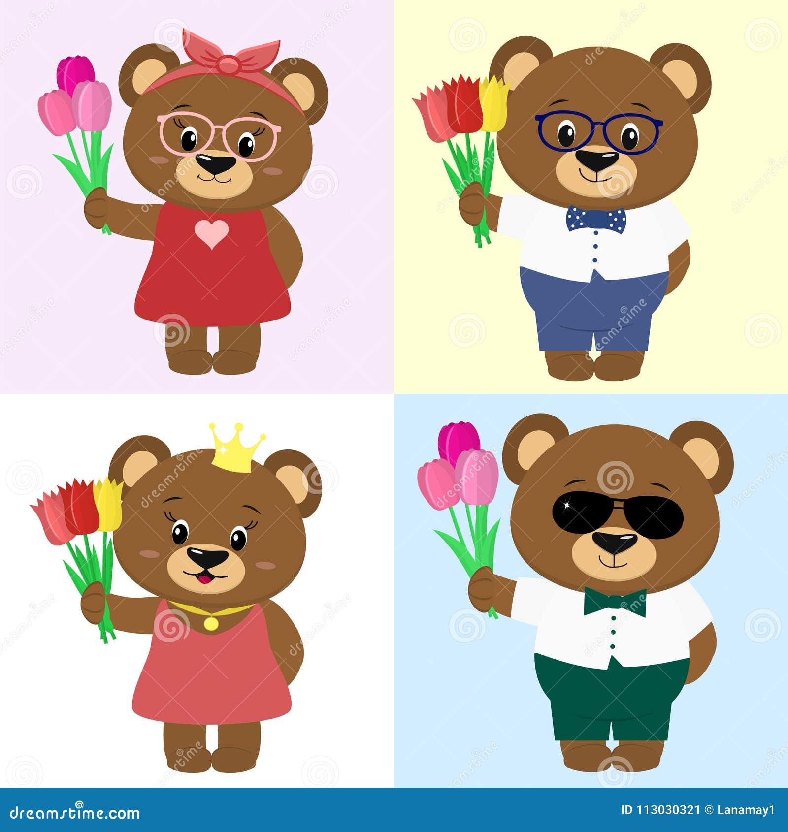 Sistema de osos marrones lindos en ropa con un ramo de tulipanes en el estilo de una historieta