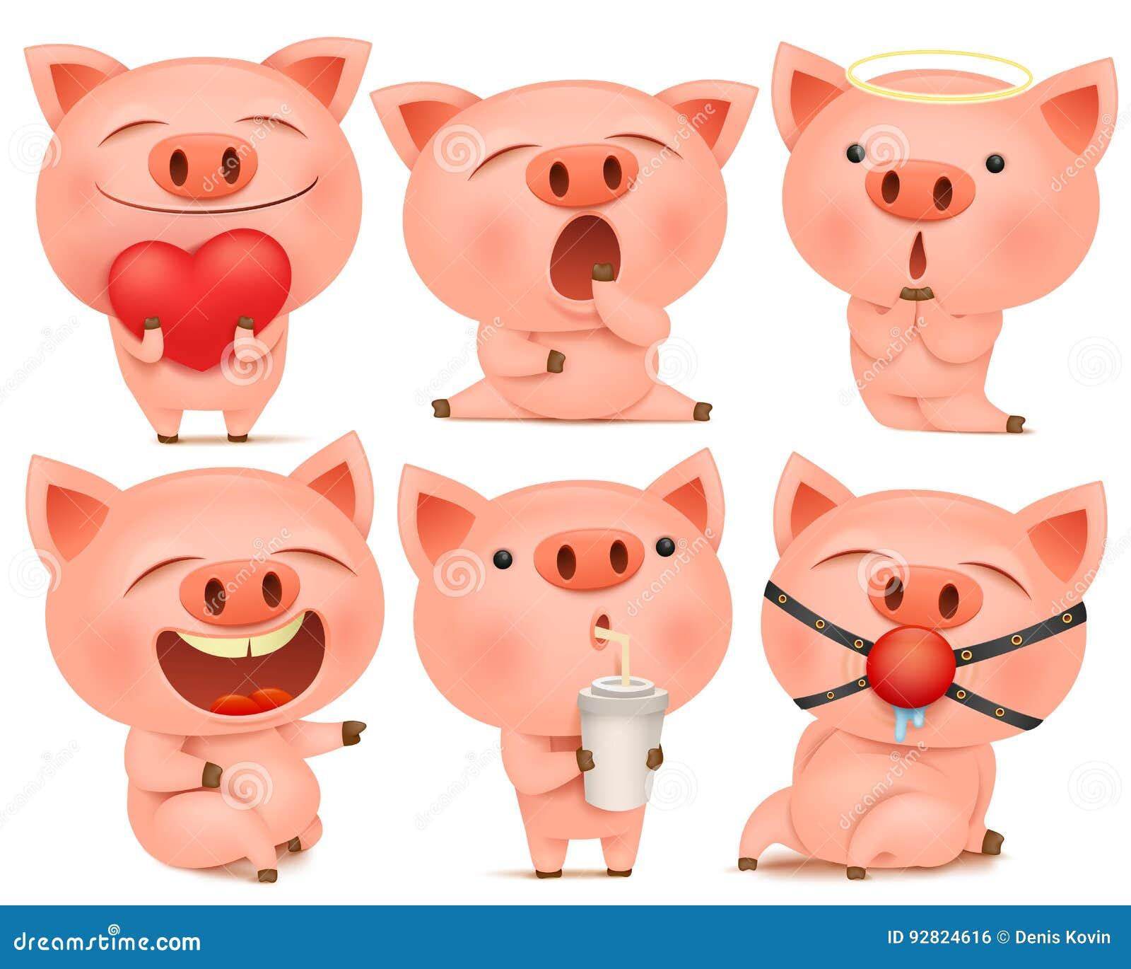Sistema de personajes de dibujos animados lindos del cerdo en diversas actitudes