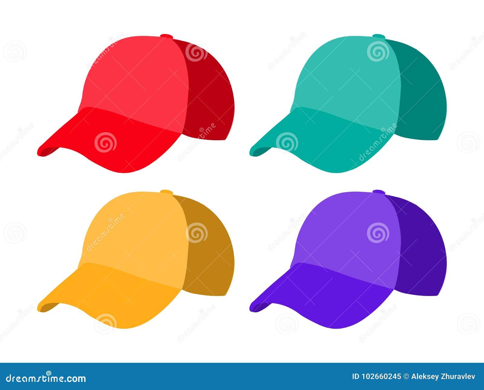 Sistema de plantillas realistas de la gorra de béisbol Ejemplo colorido del  vector del sombrero f31a3979318