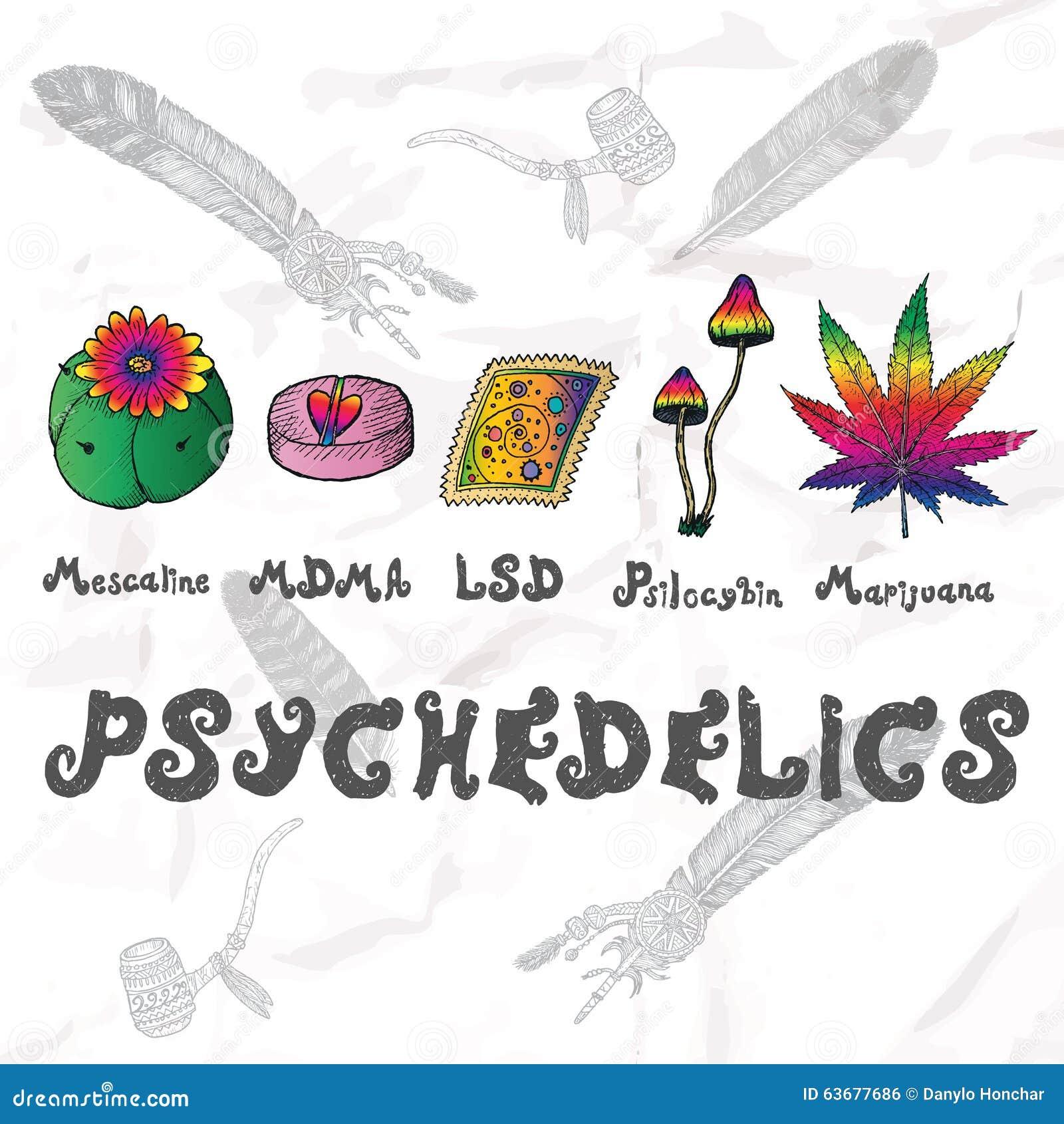 Sistema de Psychedelics Elementos dibujados mano