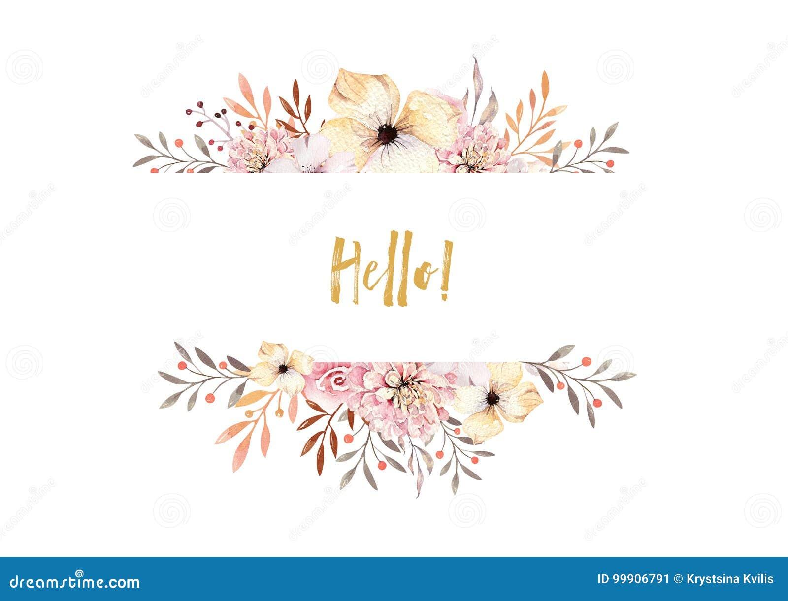 Sistema de ramos florales del boho de la acuarela Marco natural bohemio del Watercolour: hojas, plumas, flores, aisladas en blanc