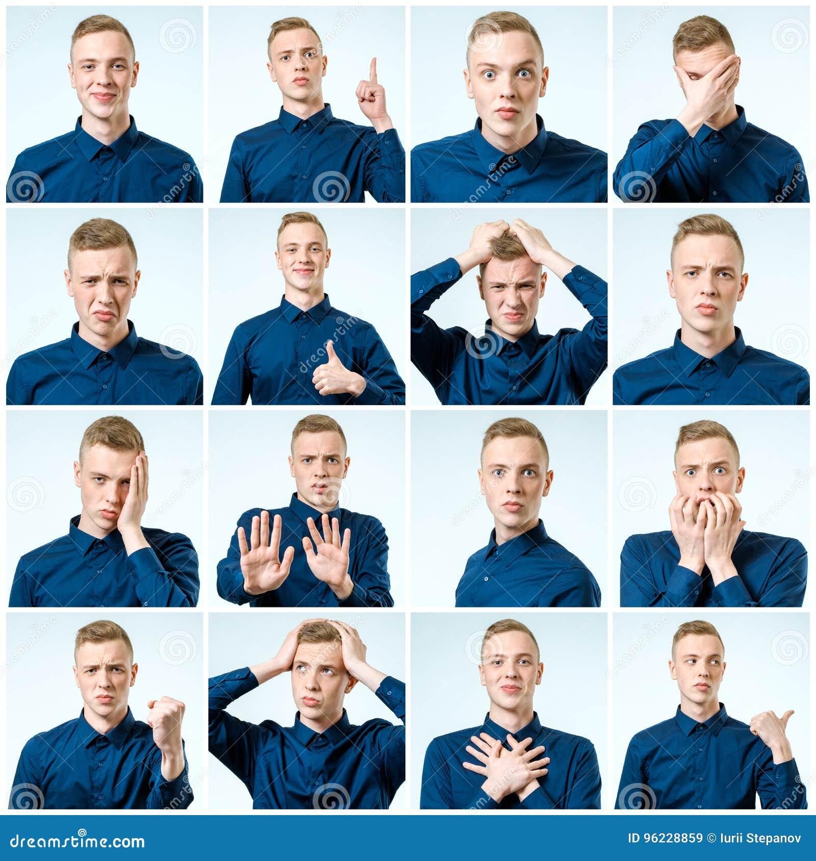 Sistema de retratos del ` s del hombre joven con diversos emociones y gesto
