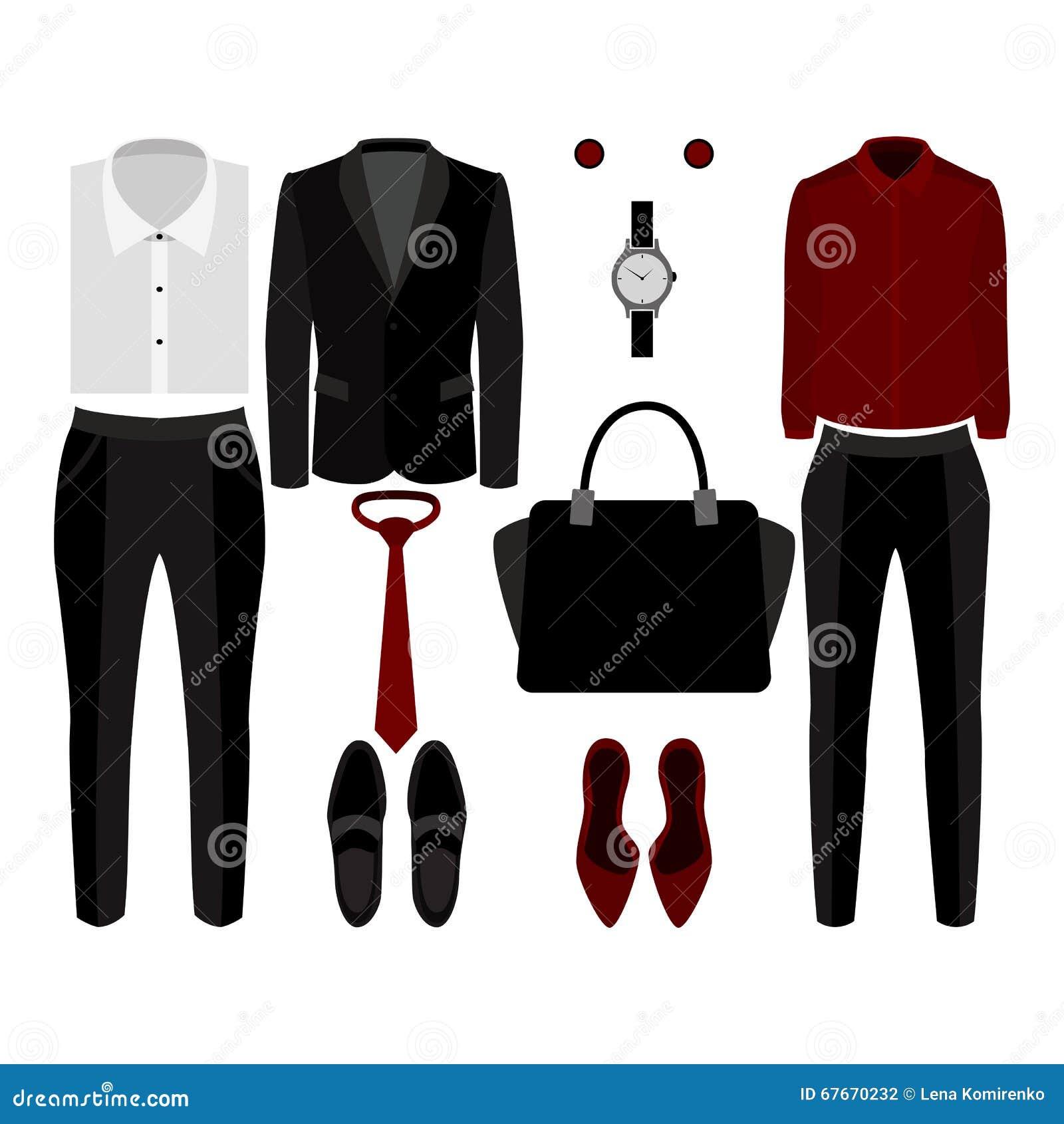 sistema de ropa de moda equipo del hombre y ropa y accesorios de la mujer fotografa