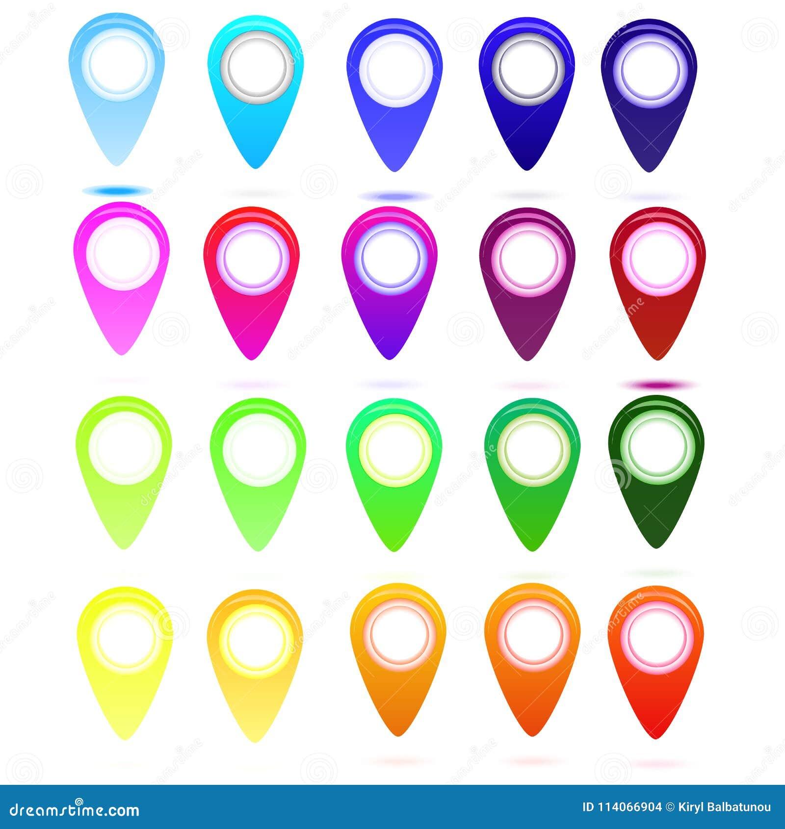 Sistema de símbolos brillante multicolor del punto del mapa para el mapa del mundo, icono del web de las flechas, objeto de la ma