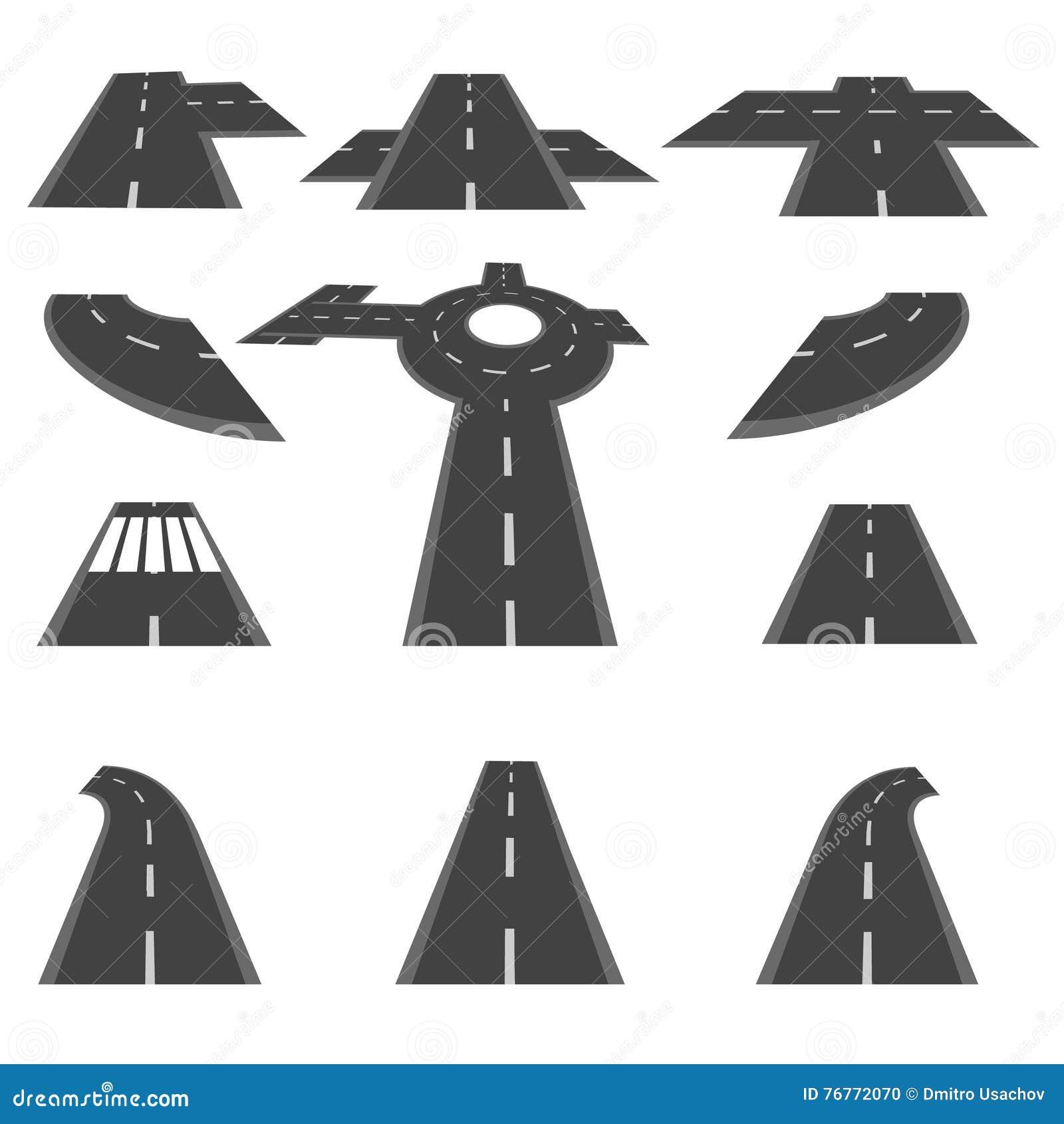Sistema de secciones del camino y de las intersecciones de cruce giratorio en perspectiva distinta Ilustración