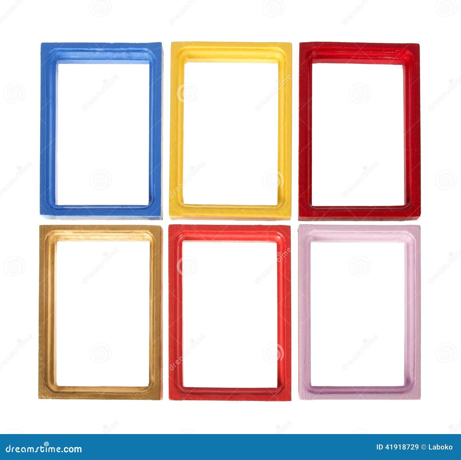 Sistema de seis marcos de madera para la foto