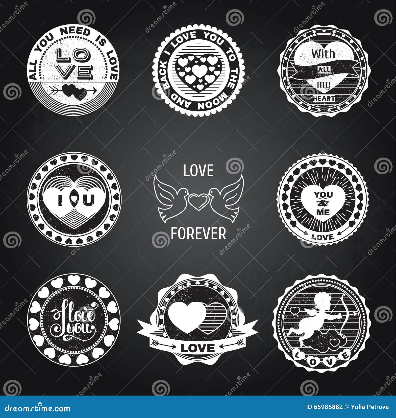 Sistema De Sellos Del Amor En Blanco Y Negro Ilustración Del Vector