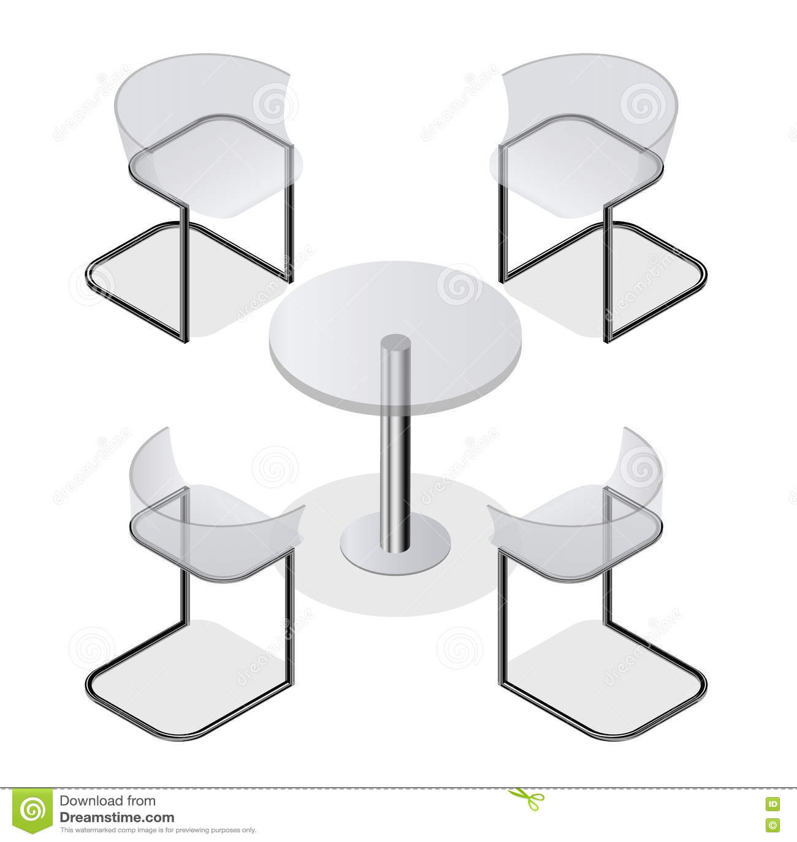 Sistema De Sillas Transparentes Y Una Mesa Redonda Para La Cocina ...