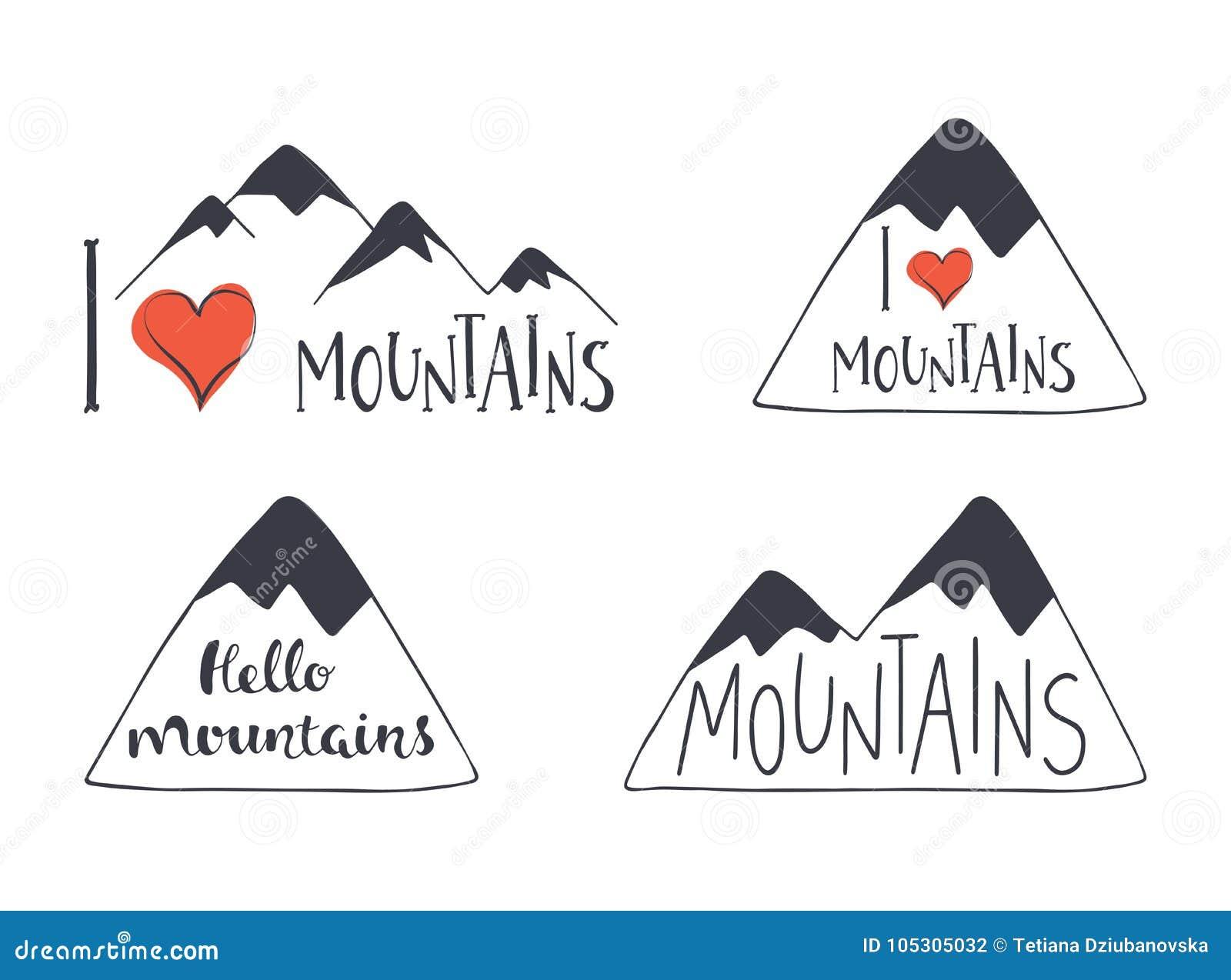 Sistema De Siluetas Dibujadas Mano De La Montana Con Las Letras