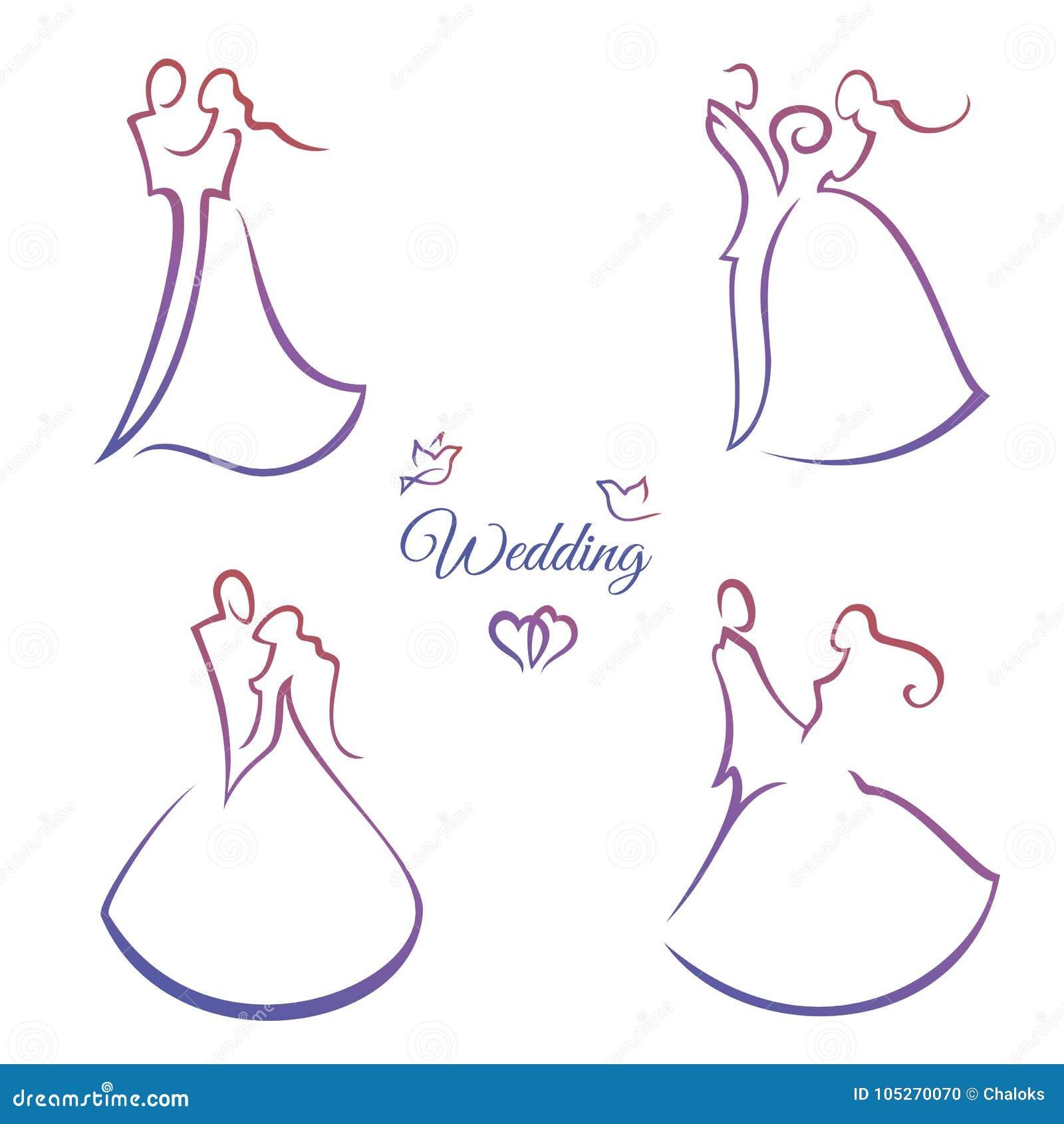 4614018982 Línea silueta de la boda de la elegancia cuatro Novia y novio Línea delgada  Ilustración del vector