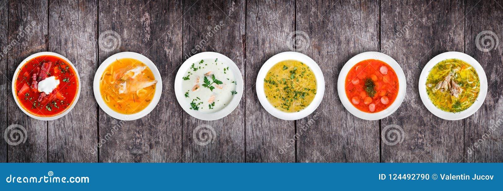 Sistema de sopas de las cocinas mundiales, comida sana