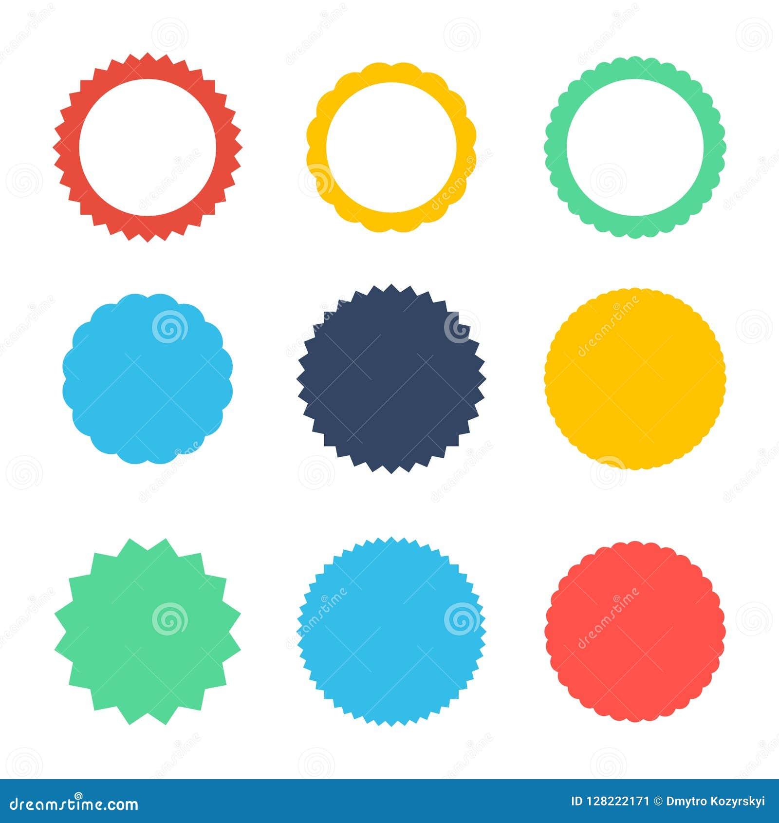 Sistema de starburst del vector, insignias del resplandor solar Iconos en el fondo blanco Etiquetas planas simples del vintage de