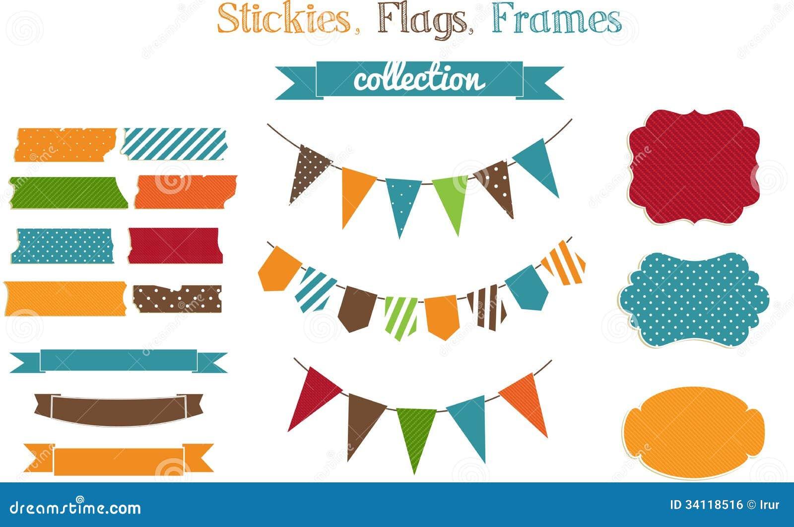 Sistema de stickies, de banderas y de fra brillantes de la pedazo-reservación