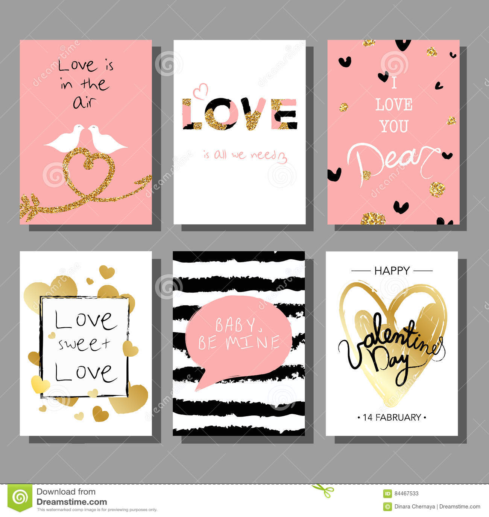 Sistema de tarjetas artístico creativo del día del ` s de la tarjeta del día de San Valentín Ilustración del vector