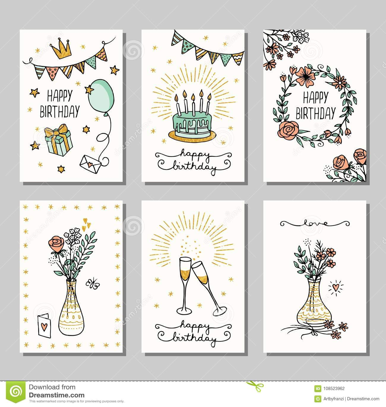 Sistema De 6 Tarjetas De Cumpleanos Dibujadas Pequena Mano - Tarjetas-de-cumpleaos-a-mano