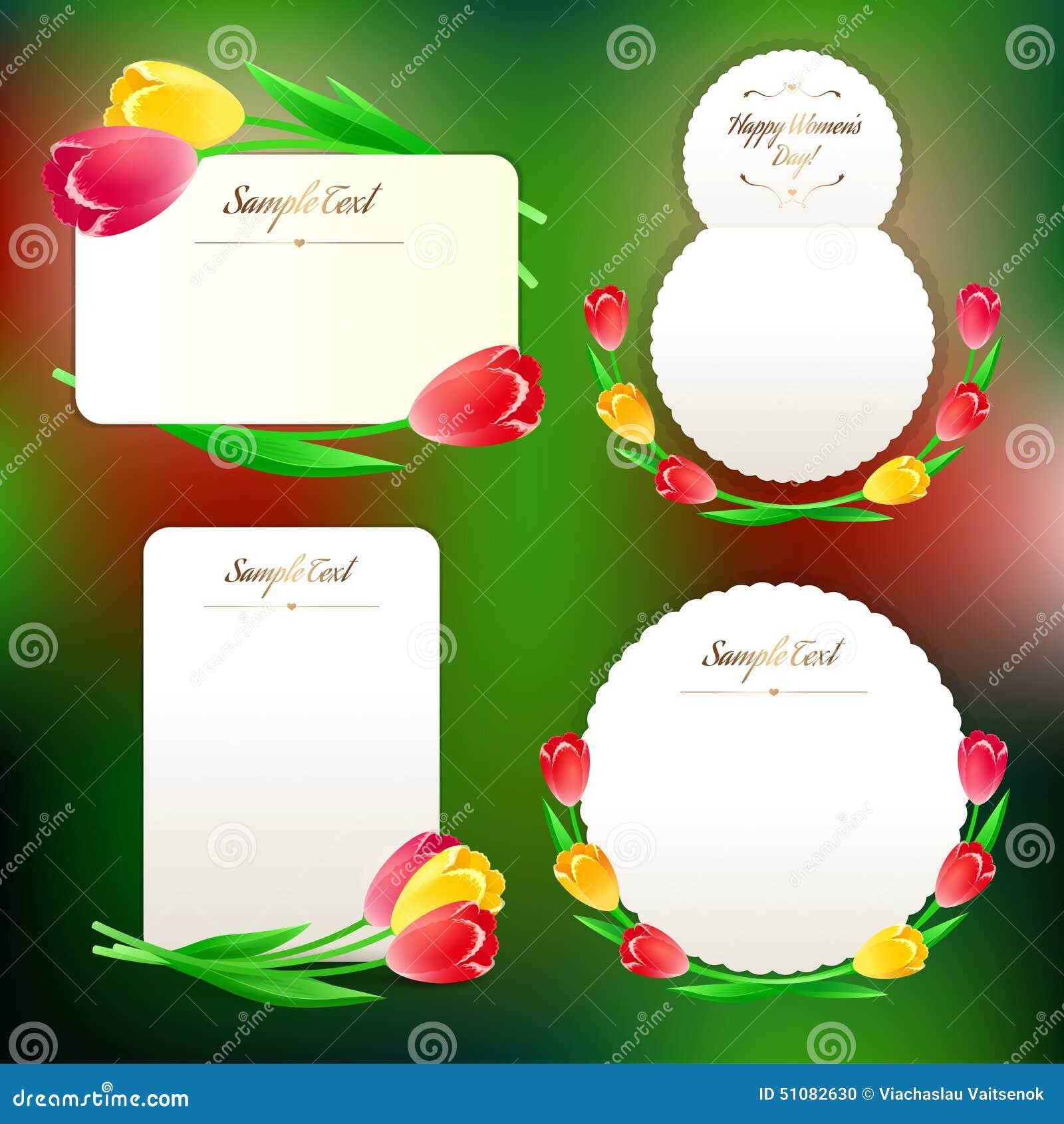 Sistema de tarjetas de felicitación de la primavera con los tulipanes