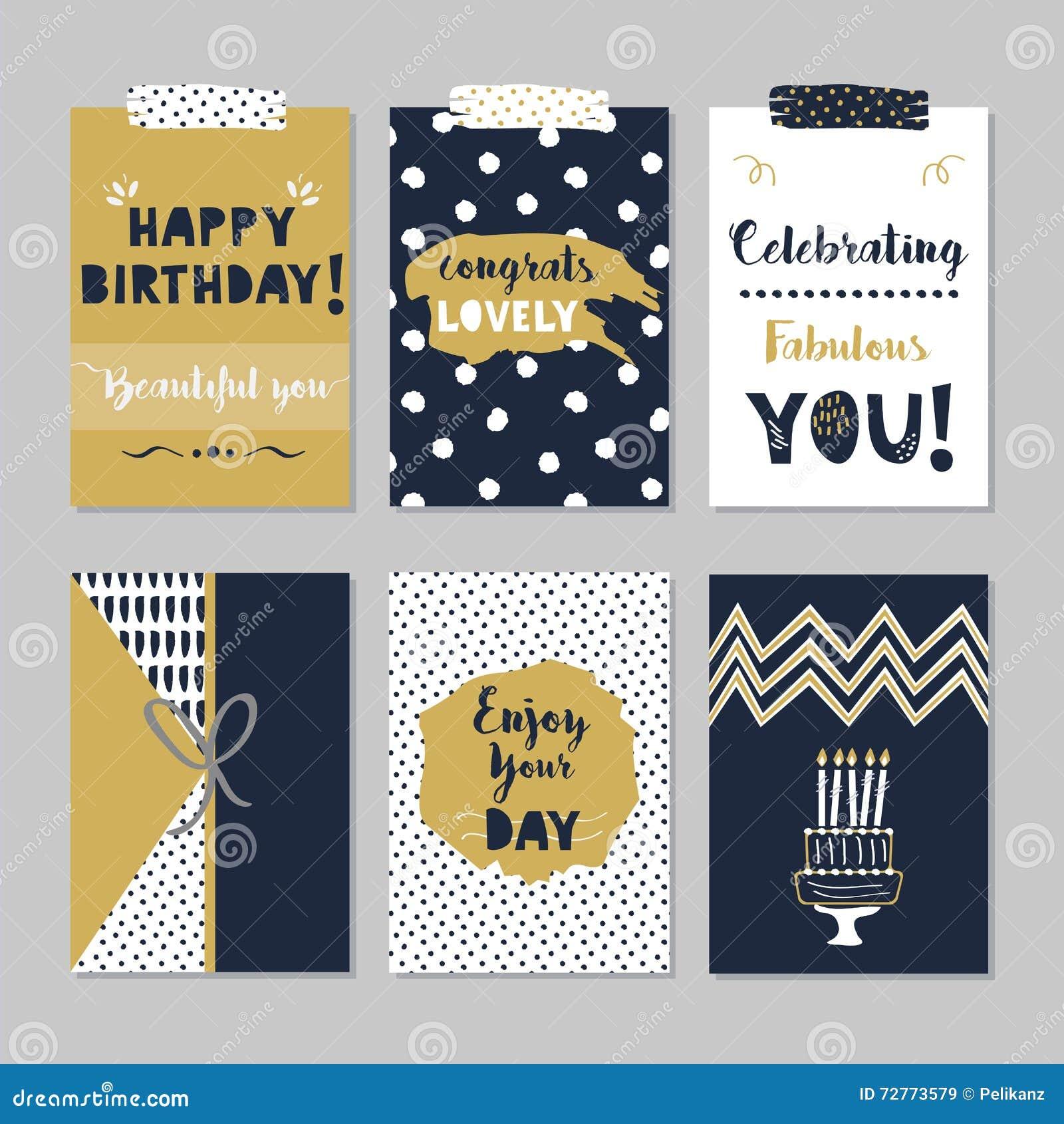 Sistema de tarjetas de oro y oscuro del feliz cumpleaños de los azules marinos en fondo gris de moda