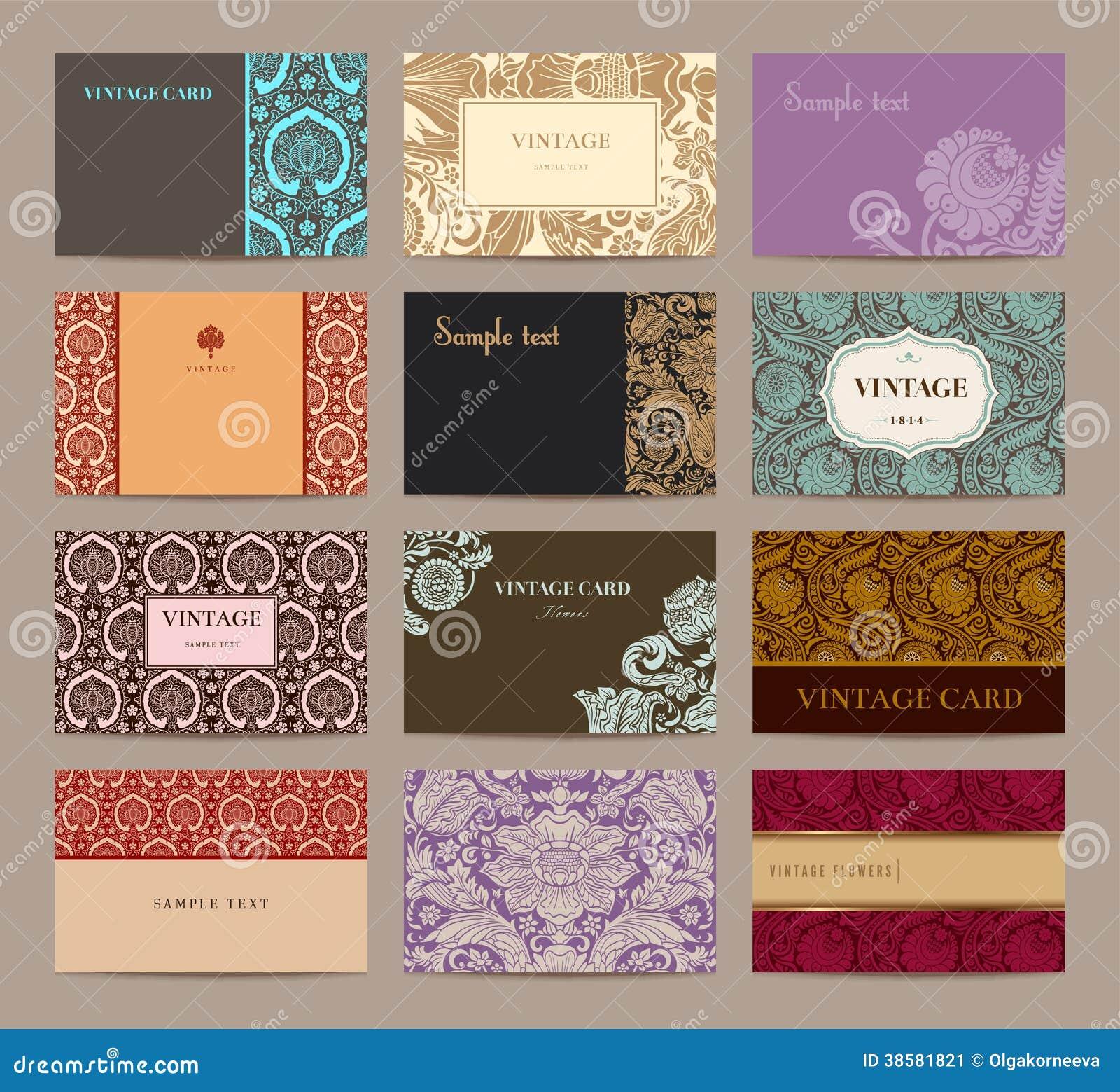sistema de tarjetas de visita del vintage imagen de