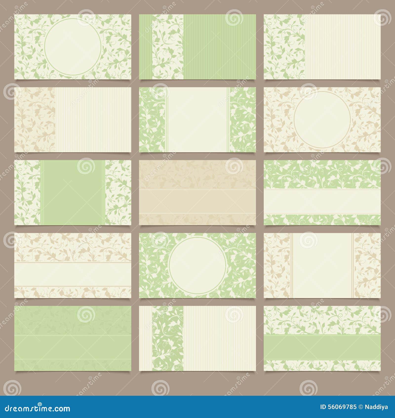 Sistema de tarjetas de visita verdes y beige con los estampados de flores Ilustración del vector