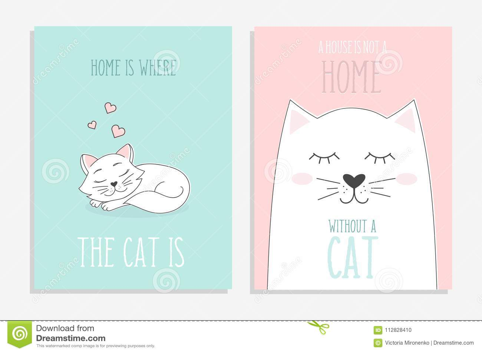 Sistema de tarjetas lindas con los gatos dibujados mano El hogar es donde está el gato